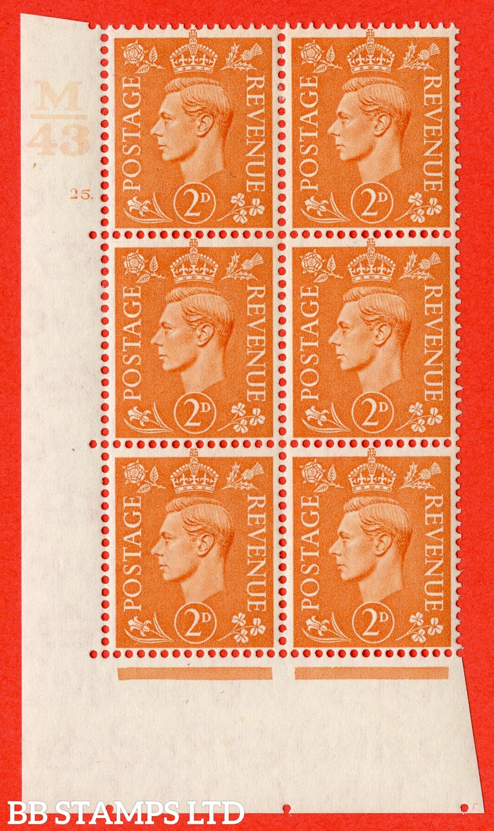 "SG. 488. Q11. 2d Pale Orange. A fine lightly mounted mint "" Control M43 cylinder 25 dot "" control block of 6 with perf type 5 E/I."