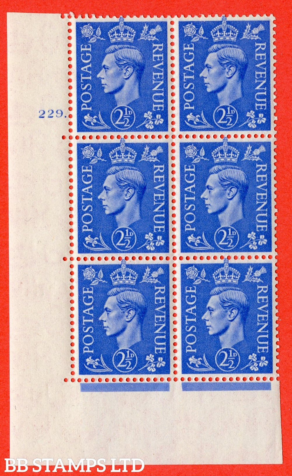"SG. 489. Q14. 2½d Light ultramarine. A superb UNMOUNTED MINT "" No Control cylinder 229 dot "" control block of 6 with perf type 5 E/I"