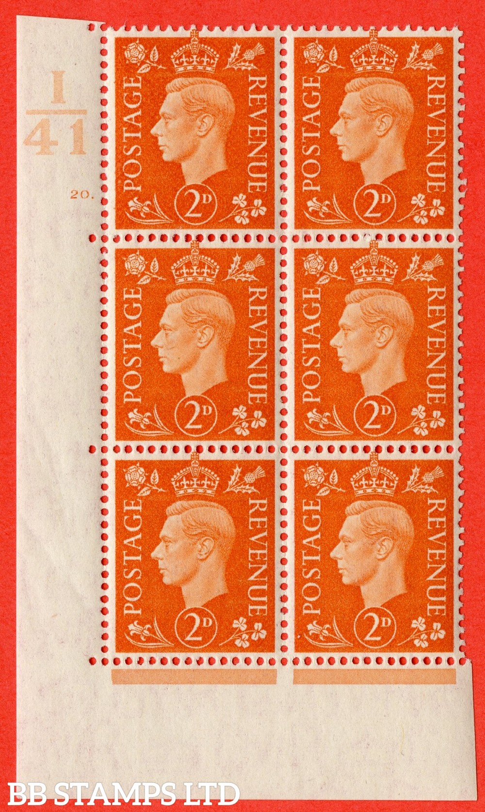 "SG. 465. Q10. 2d Orange. A superb UNMOUNTED MINT "" Control I41 cylinder 20 dot "" control block of 6 with perf type 5 E/I."