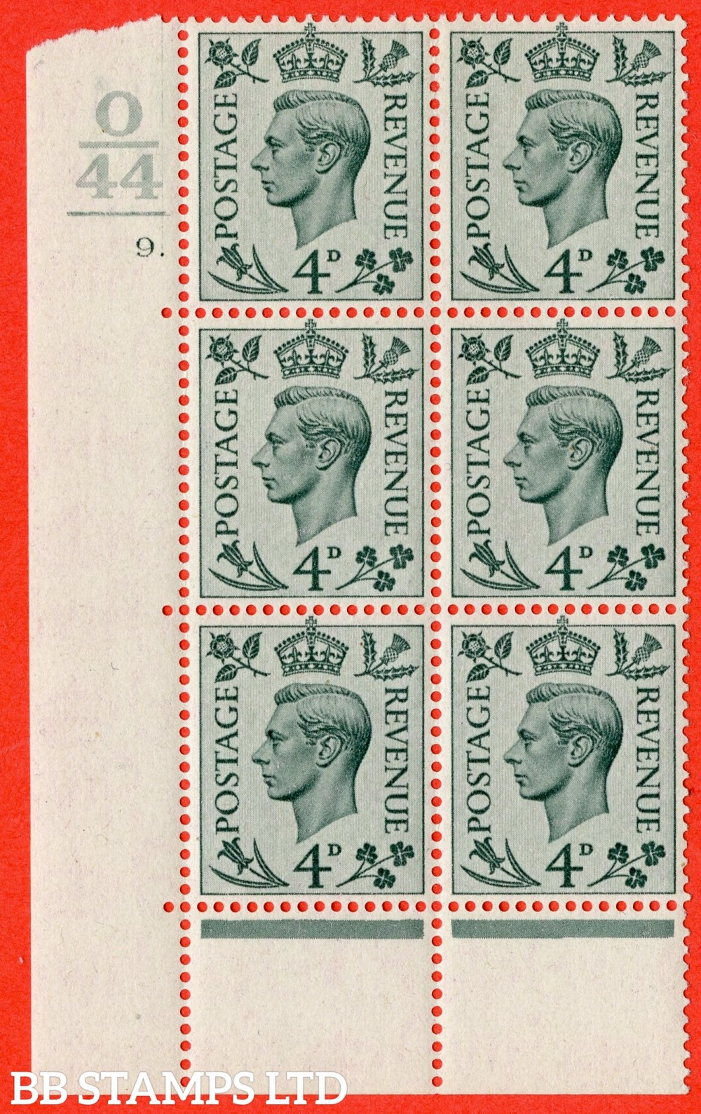 """SG. 468. Q19. 4d Grey-Green. A fine lightly mounted mint. """" Control O44. 1 Bar. Cylinder 9 dot """" control block of 6 with perf type 6B E/P."""