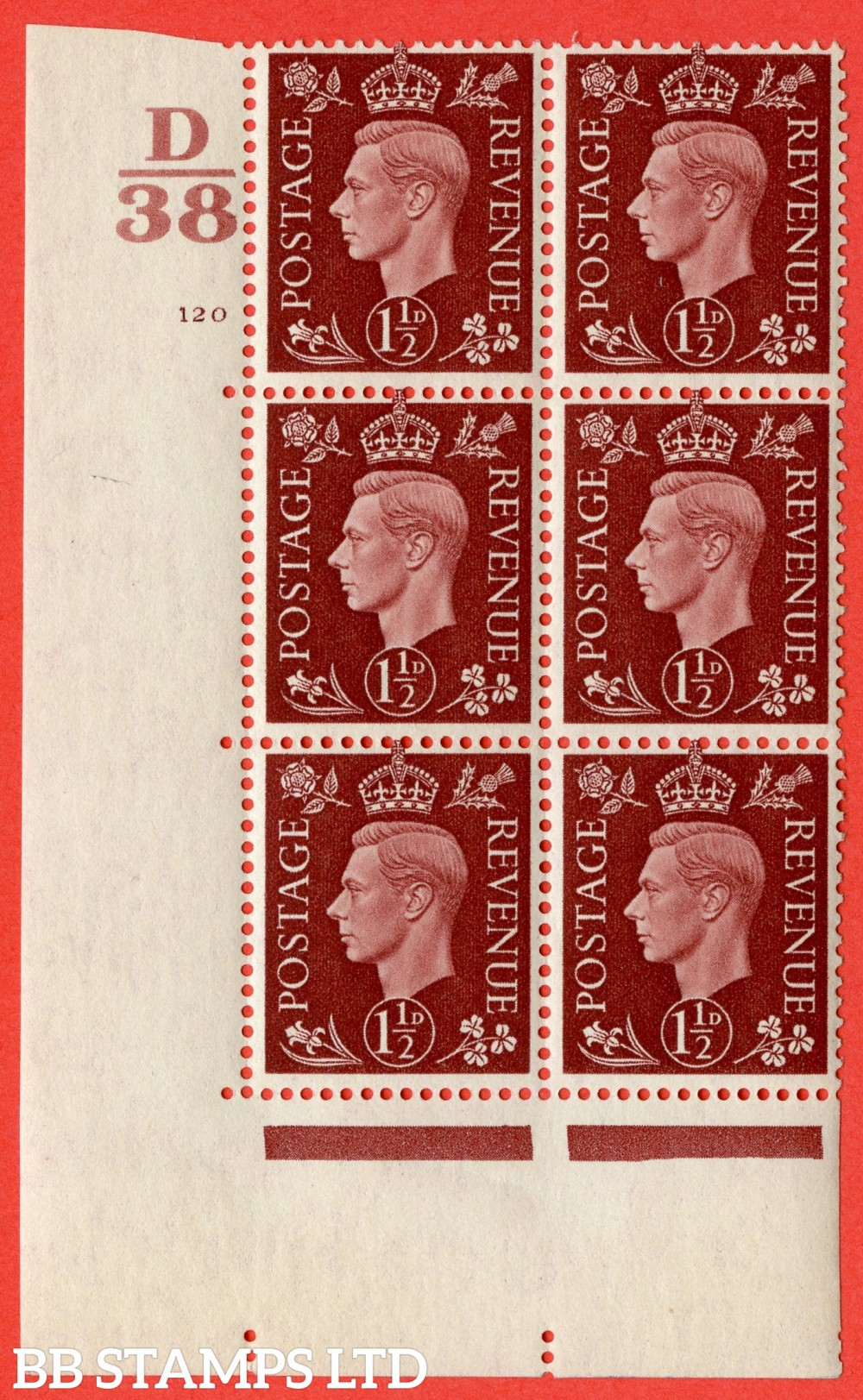"SG. 464. Q7. 1½d Red-Brown. A superb UNMOUNTED MINT "" Control D38 cylinder 120 no dot "" block of 6 with perf type 5 E/I."