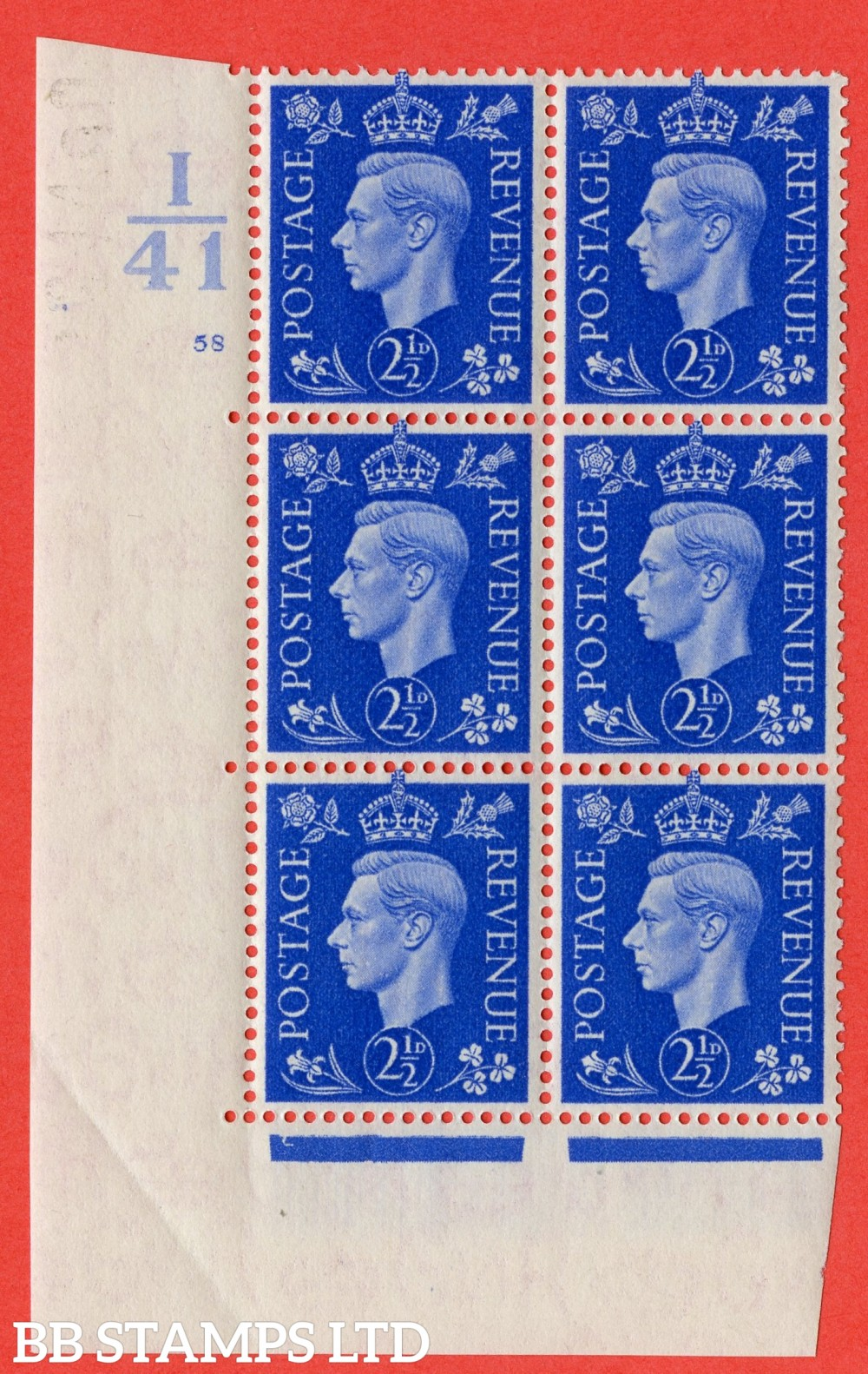"SG. 466. Q13. 2½d Ultramarine. A superb UNMOUNTED MINT "" Control I41 cylinder 58 no dot "" control block of 6 with perf type 5 E/I."