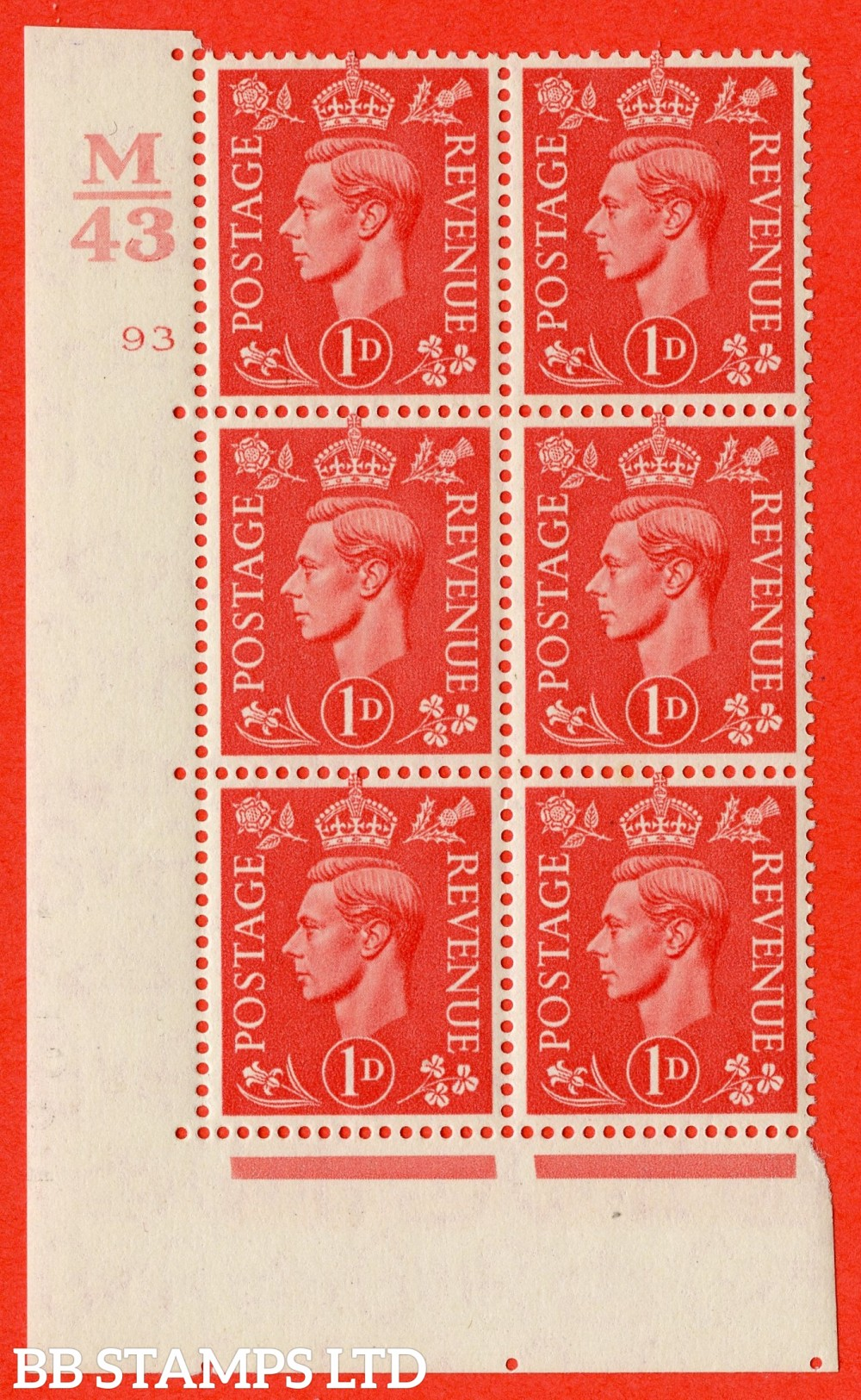 "SG. 486. Q5. 1d Pale scarlet. A superb UNMOUNTED MINT "" Control M43  cylinder 93 no dot "" control block of 6 with perf type 5 E/I."