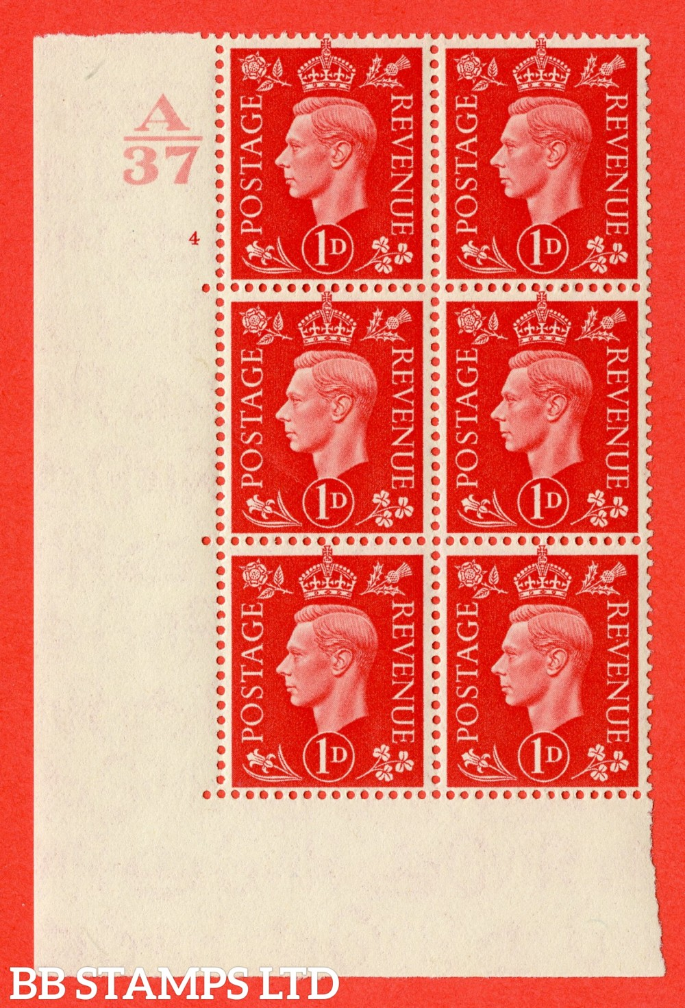 "SG. 463. Q4. 1d Scarlet. A superb UNMOUNTED MINT "" Control A37 cylinder 4 no dot "" block of 6 with perf type 5 E/I without marginal rule."