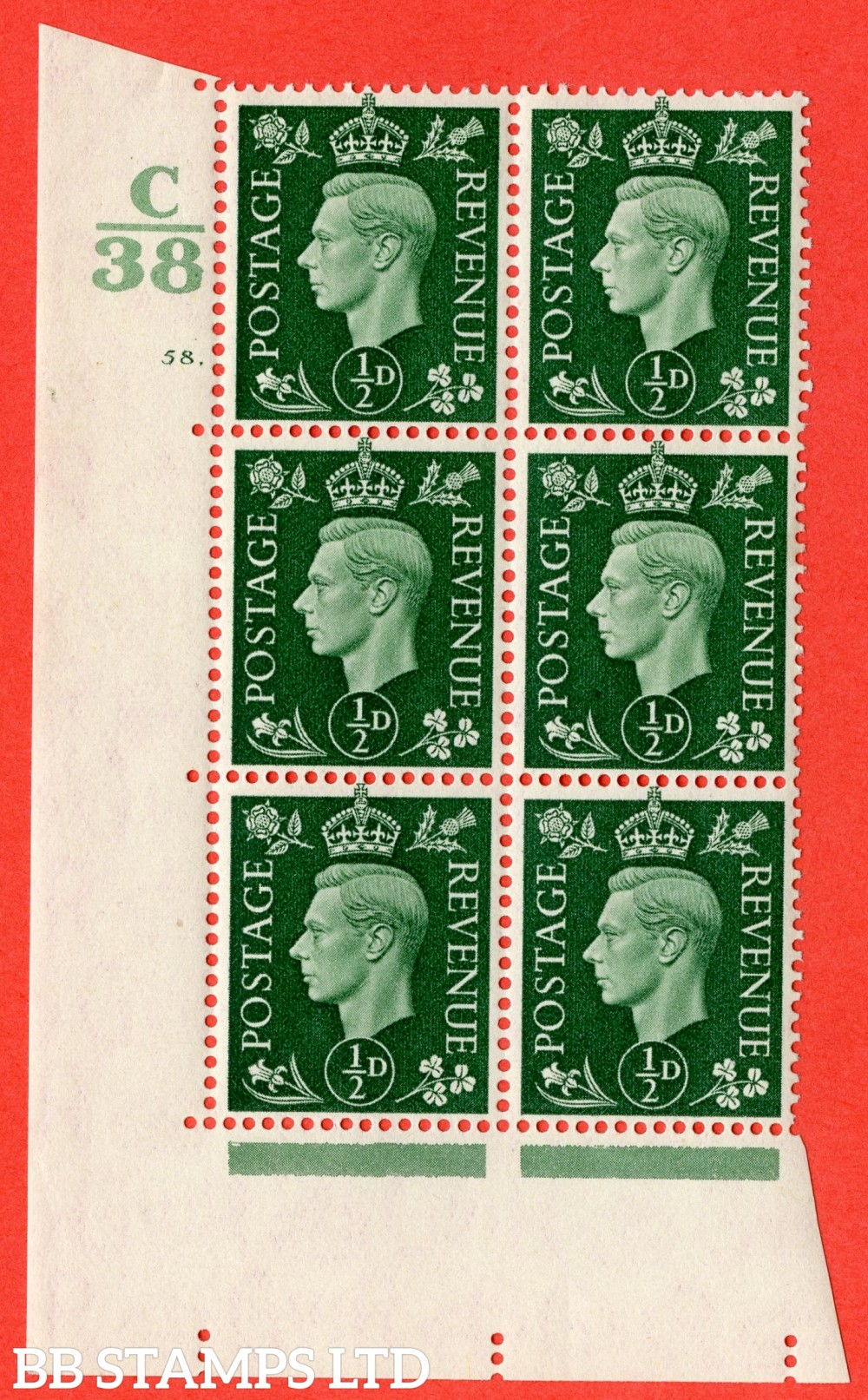 "SG. 462. Q1. ½d Green. A superb UNMOUNTED MINT "" Control C38 cylinder 58 dot "" block of 6 with perf type 5 E/I."