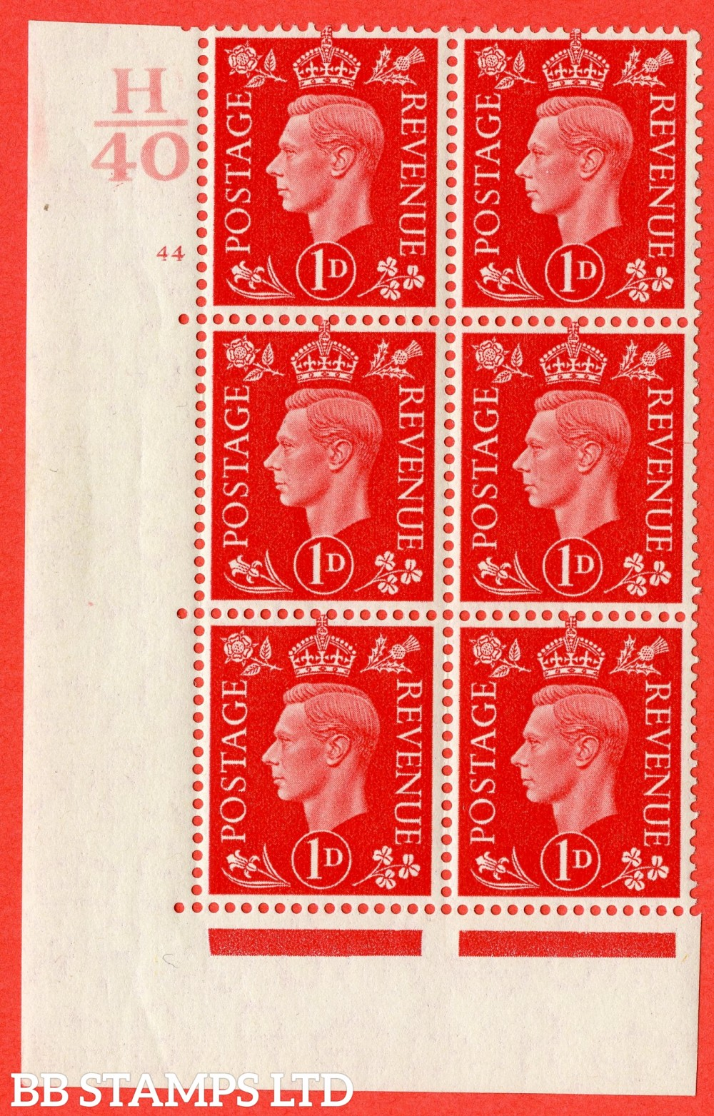 "SG. 463. Q4. 1d Scarlet. A fine lightly mounted mint "" Control H40 cylinder 44 no dot "" block of 6 with perf type 5 E/I."