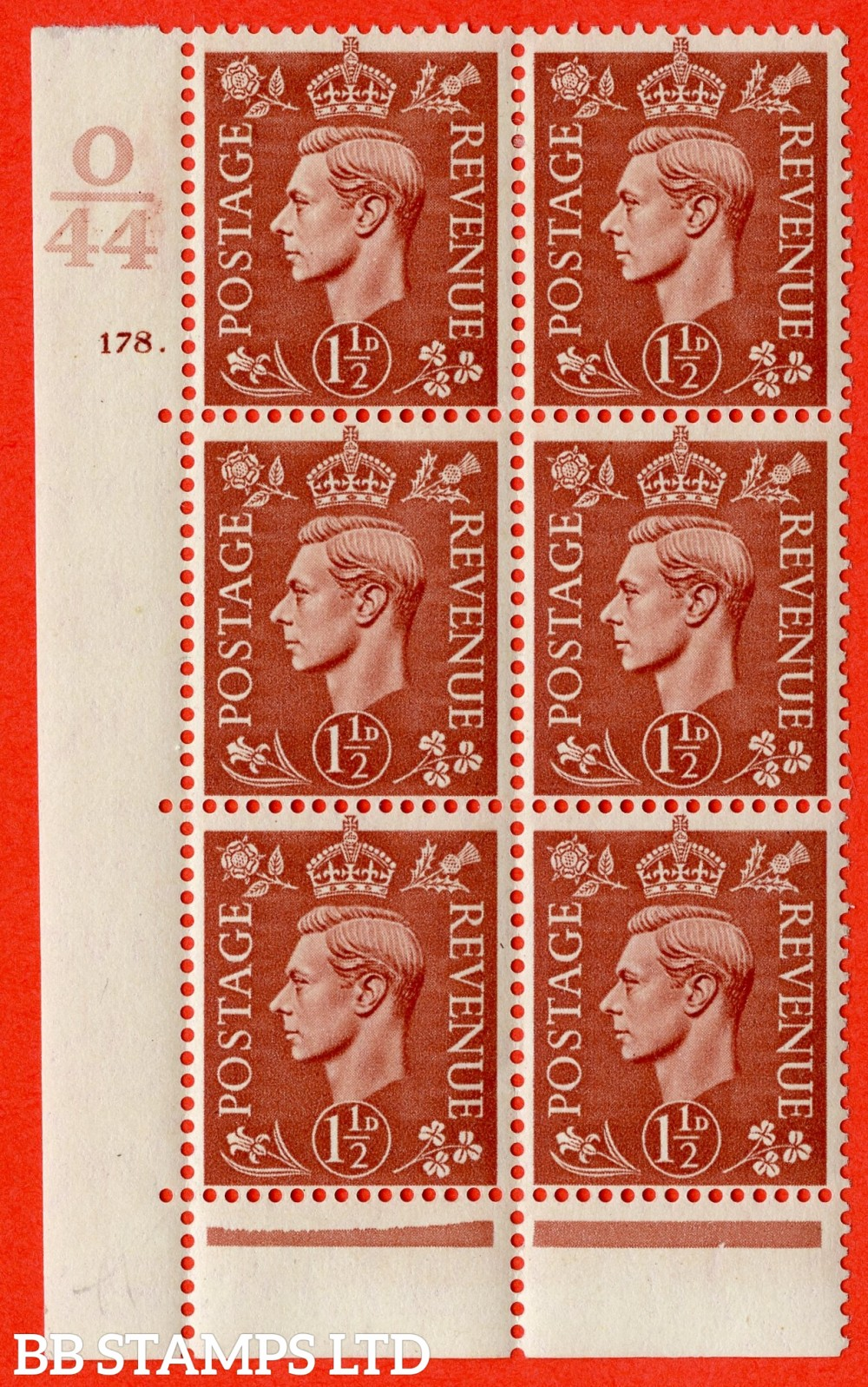 "SG. 487. Q8. 1½d Pale Red-Brown. A fine lightly mounted mint "" Control O44 cylinder 178 dot "" control block of 6 with perf type 6B E/P"