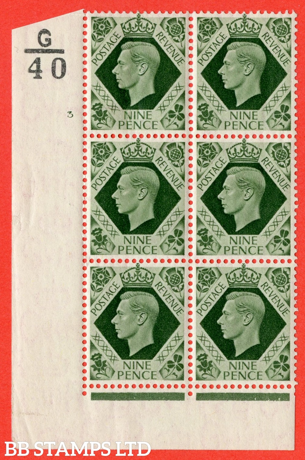 "SG. 473. Q25. b. 9d Olive-Green. A fine mounted mint "" Control G40 cylinder 3 no dot "" control block of 6 with perf type 2 I/E with listed variety "" Serif touched out but dot remains "" R18/1."