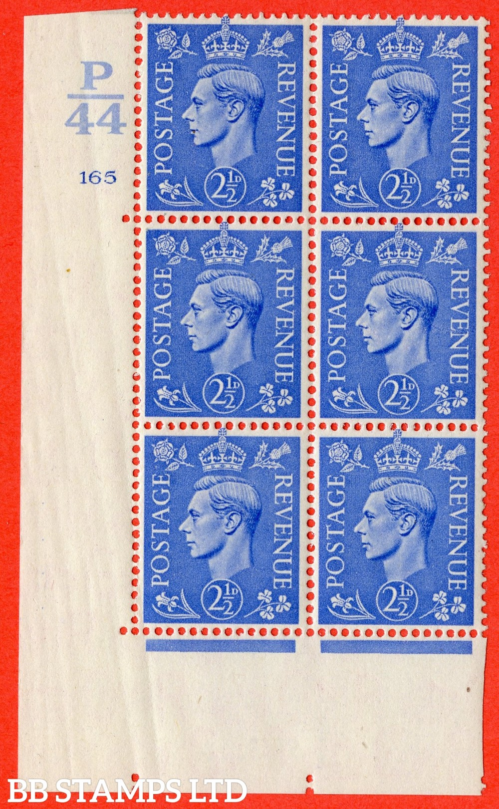 "SG. 489. Q14. 2½d Light ultramarine. A suberb UNMOUNTED MINT "" Control  P44 cylinder 165 no dot "" control block of 6 with perf type 5 E/I. Crease in margin."