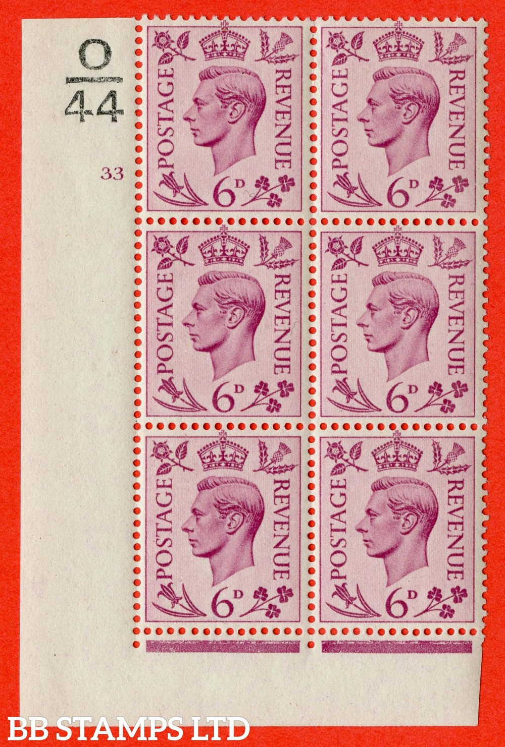 """SG. 470. Q22. 6d Purple. A superb UNMOUNTED MINT """" Control O44 cylinder 33 no dot """" control block of 6 with perf type 2 E/I."""