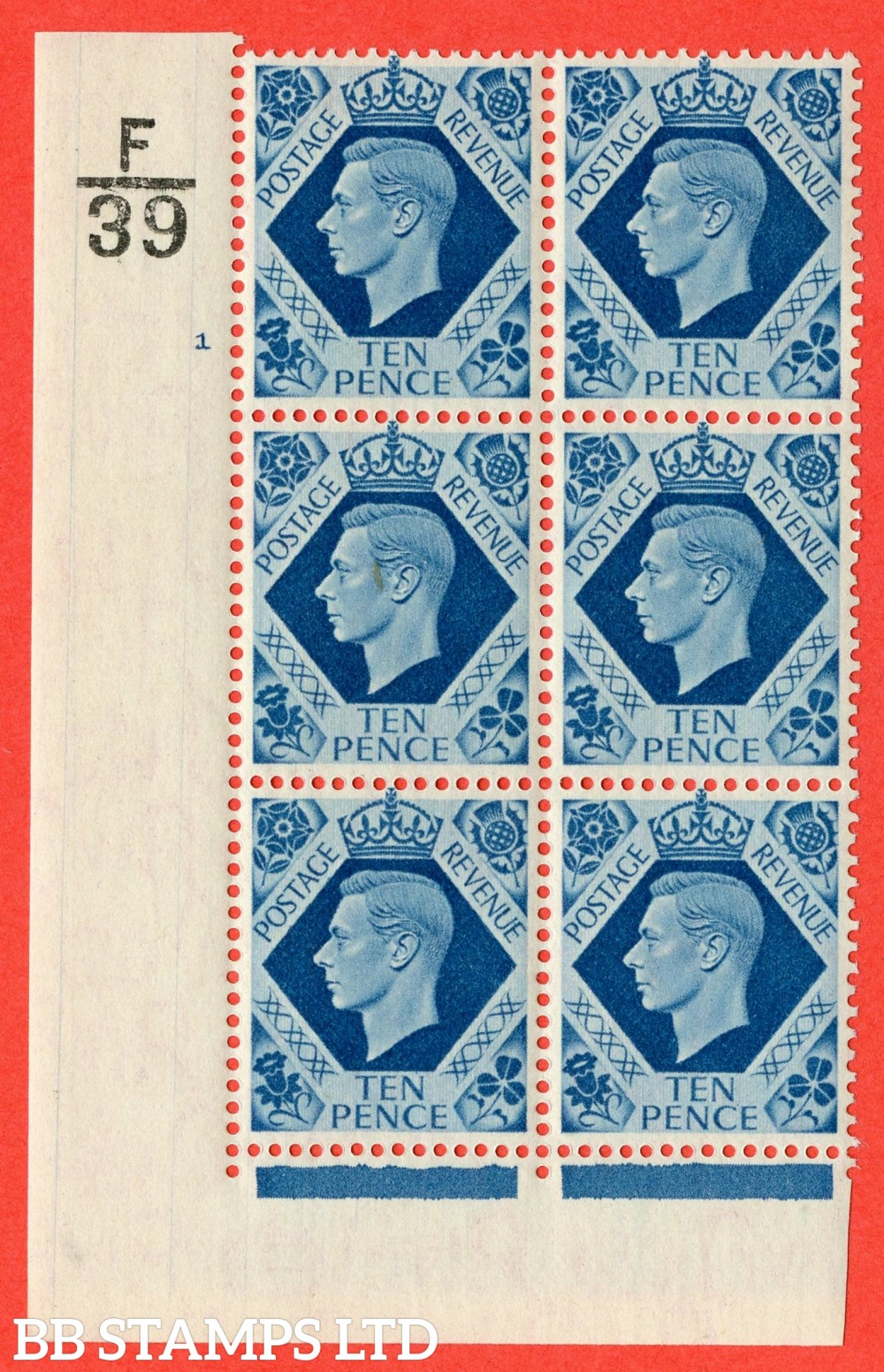 "SG. 474. Q26. 10d Turquoise-Blue. Asuperb UNMOUNTED MINT"" Control F39 cylinder 1 no dot "" control block of 6 with perf type 2 I/E."