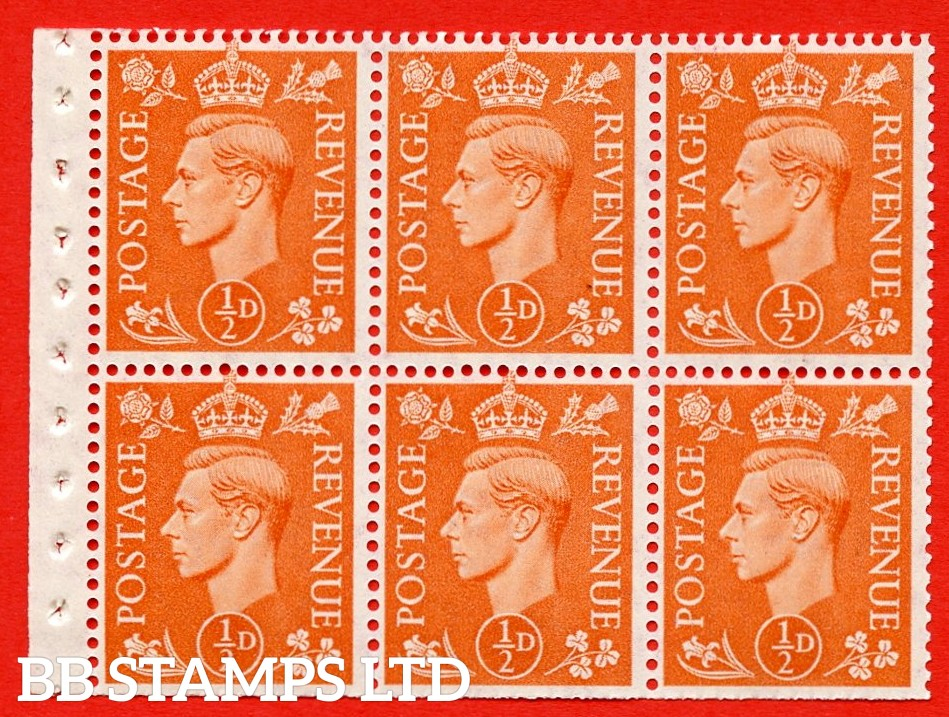 """SG. 503d. QB7. ½d orange. A fine UNMOUNTED MINT complete booklet pane of 6. Perf type """" I """". Trimmed Perfs."""