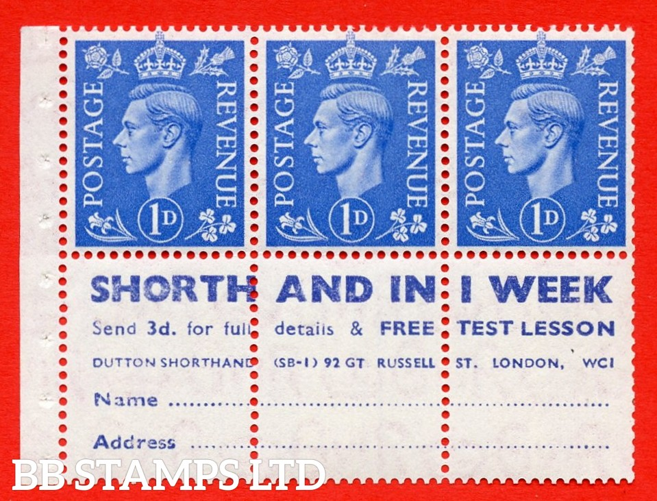 """SG. 504 d. QB20. 1d ultramarine. A fine MOUNTED MINT complete booklet pane with """" SHORTHAND IN 1 WEEK """". Perf type """" I """". Good Perfs."""