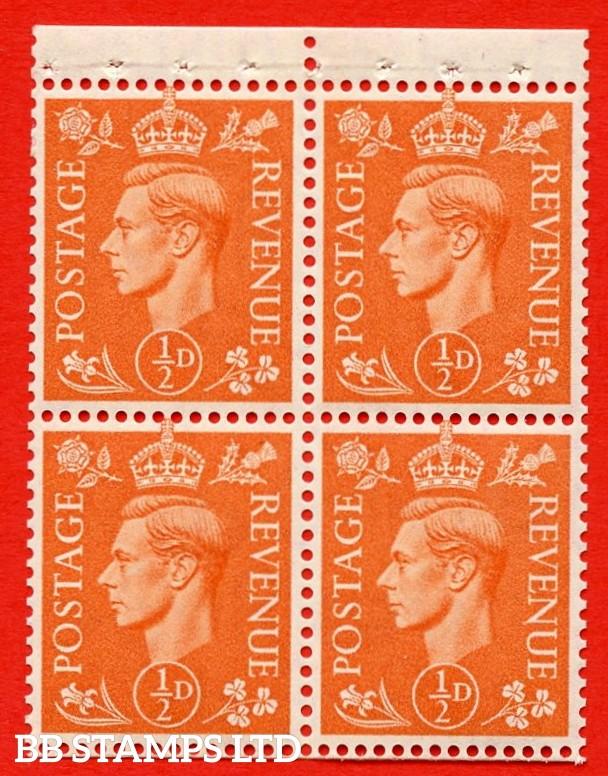 "SG. 503e. QB8. ½d orange. A fine UNMOUNTED MINT complete booklet pane of 4. Perf type "" P "". Good Perfs."