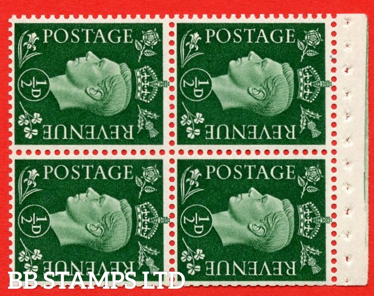 """SG. 462 ab. QB2. ½d green. SIDEWAYS WATERMARK LEFT. A superb UNMOUNTED MINT complete booklet pane of Four. Perf type """" I """". Good Perfs."""
