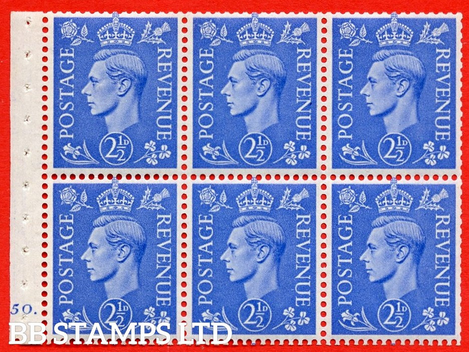 """SG. 489f. QB33. 2½d blue. A fine UNMOUNTED MINT complete Cylinder pane of 6 J50 dot. Perf type """"B6(IE)"""". Trimmed Perfs."""