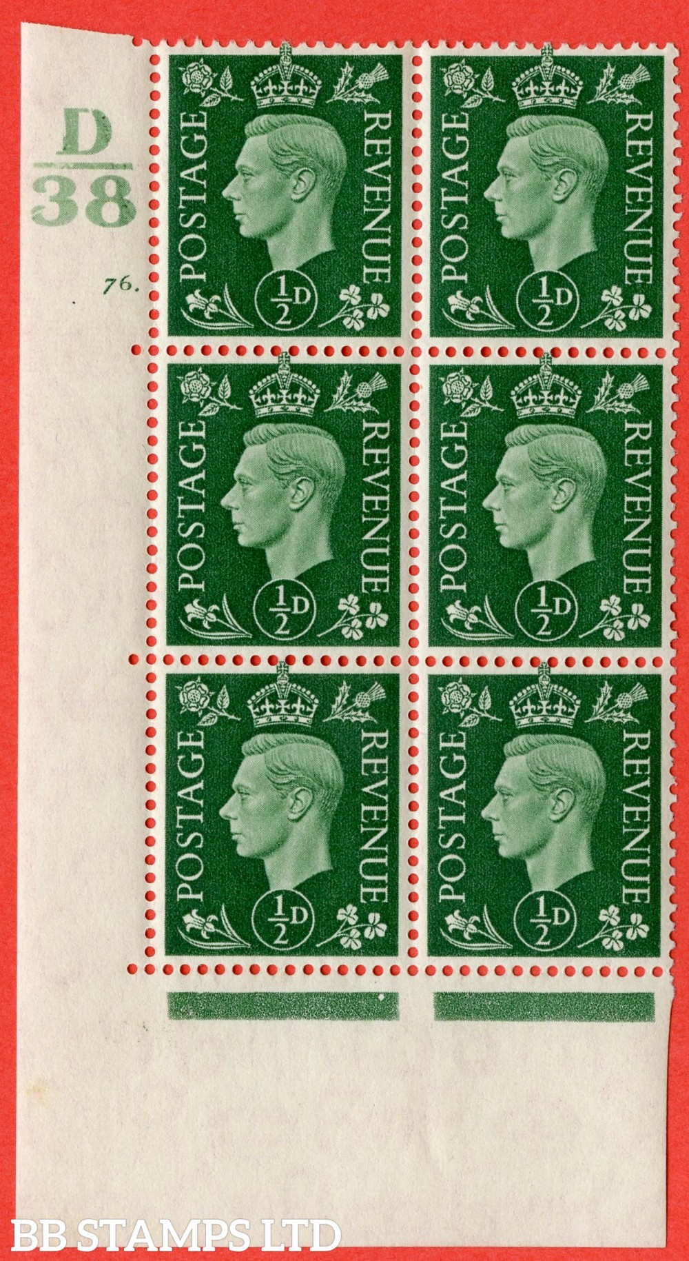"""SG. 462. Q1. ½d Green. A fine lightly mounted mint """" Control D38 cylinder 76 dot """" block of 6 with perf type 5 E/I."""