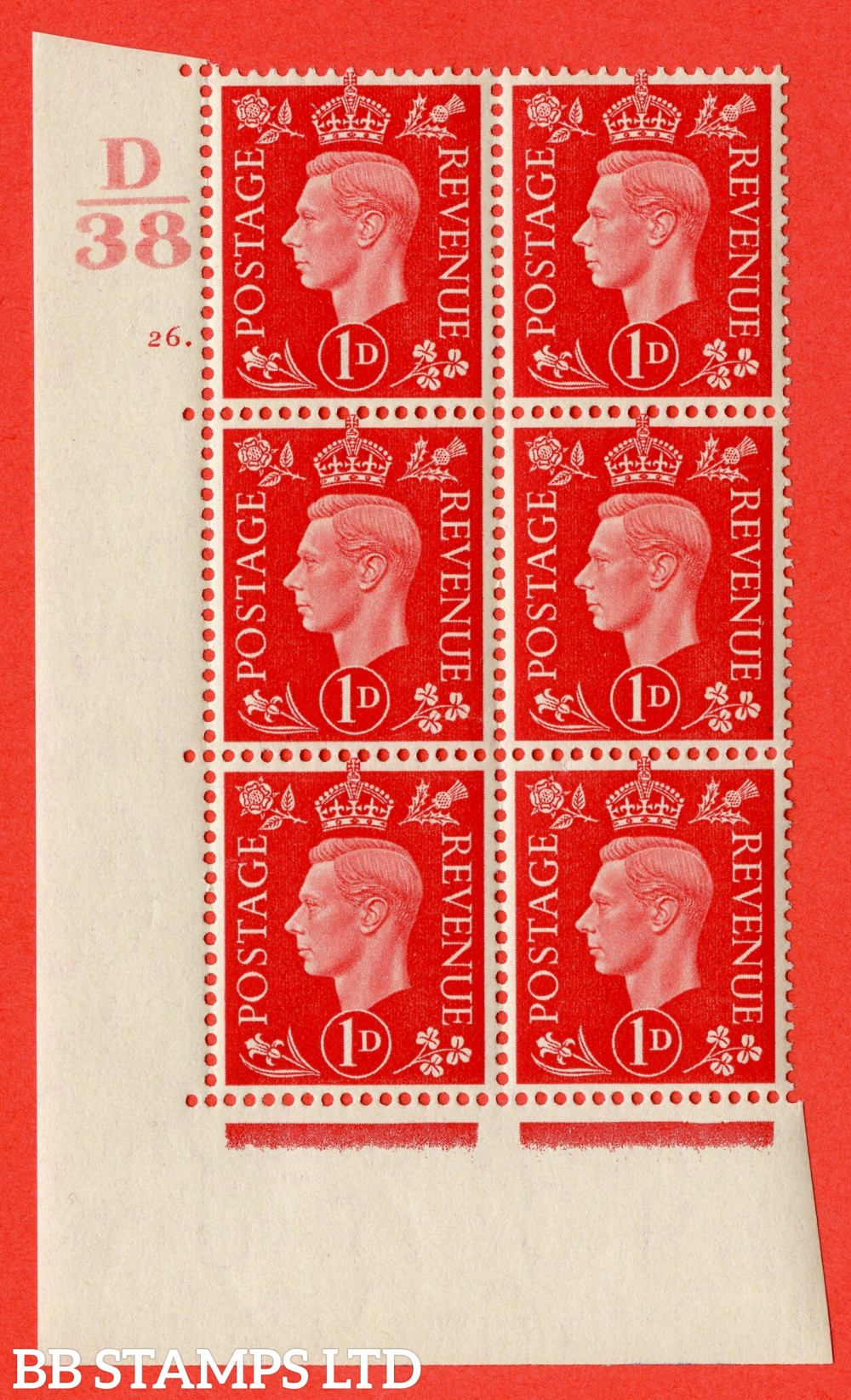 "SG. 463. Q4. 1d Scarlet. A superb UNMOUNTED MINT "" Control D38 cylinder 26 dot "" block of 6 with perf type 5 E/I."