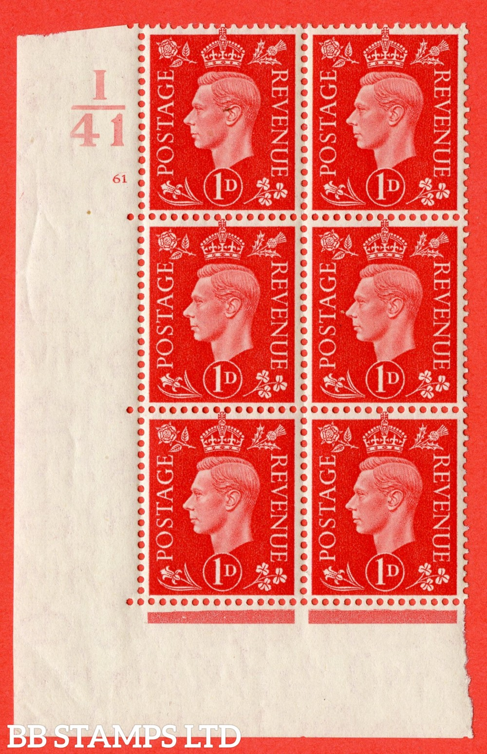 "SG. 463. Q4. 1d Scarlet. A fine lightly mounted mint "" Control I41 cylinder 61 no dot "" block of 6 with perf type 5 E/I."