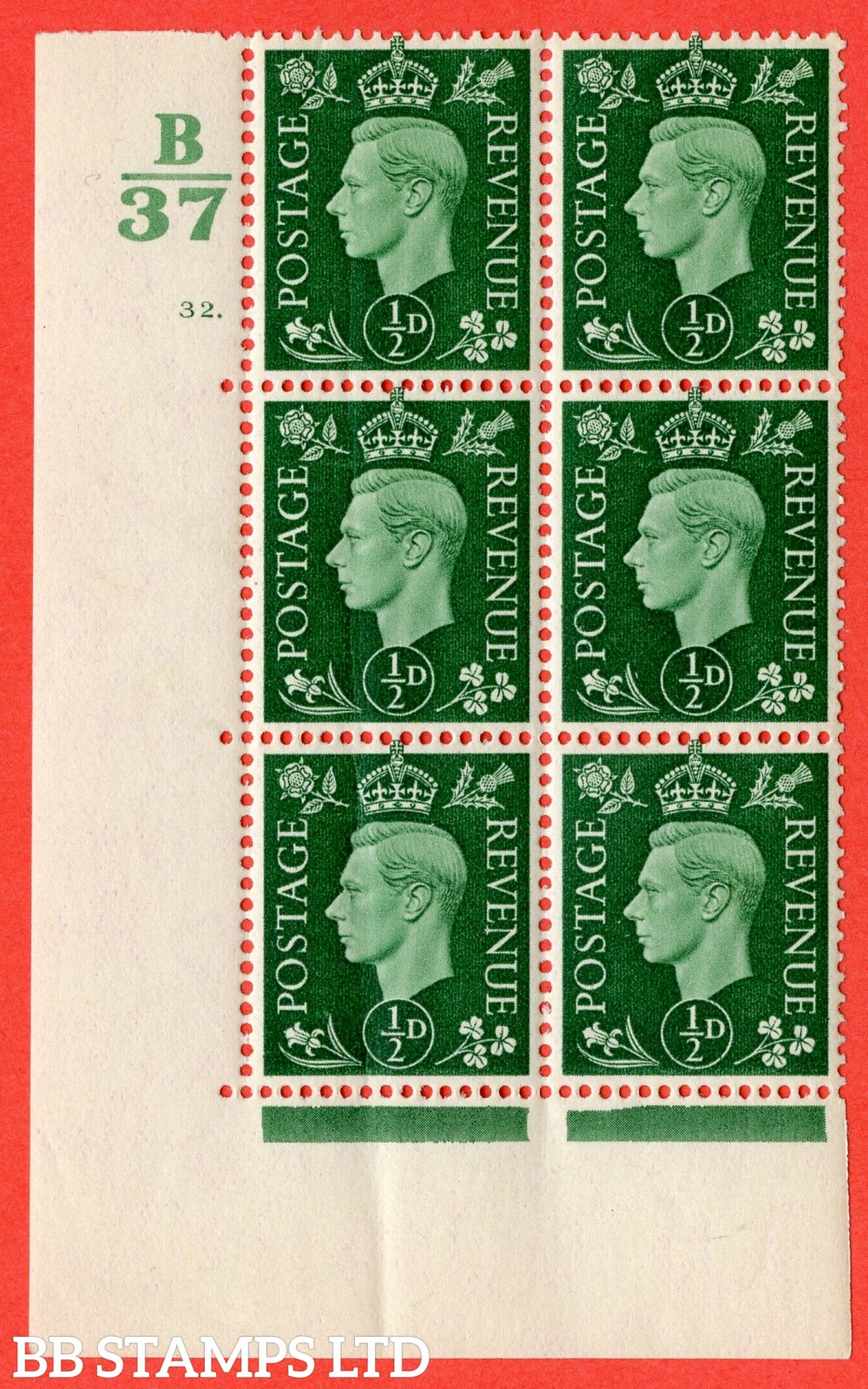"SG. 462. Q1. ½d Green. A superb UNMOUNTED MINT "" Control B37 cylinder 32 dot "" block of 6 with perf type 5 E/I. Slightt Crease."