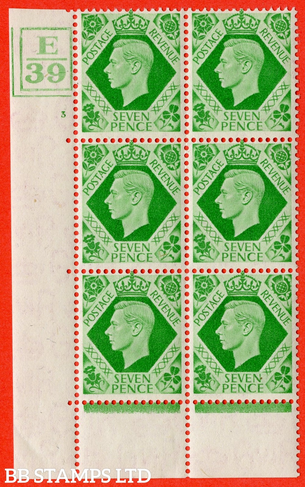 """SG. 471. Q23. 7d Emerald-Green. A superb UNMOUNTED MINT """" Control S46. Cylinder 10 no dot """" control block of 6 with perf type 6B E/P. with listed variety """" Damaged N in Revenue """" R20/2."""
