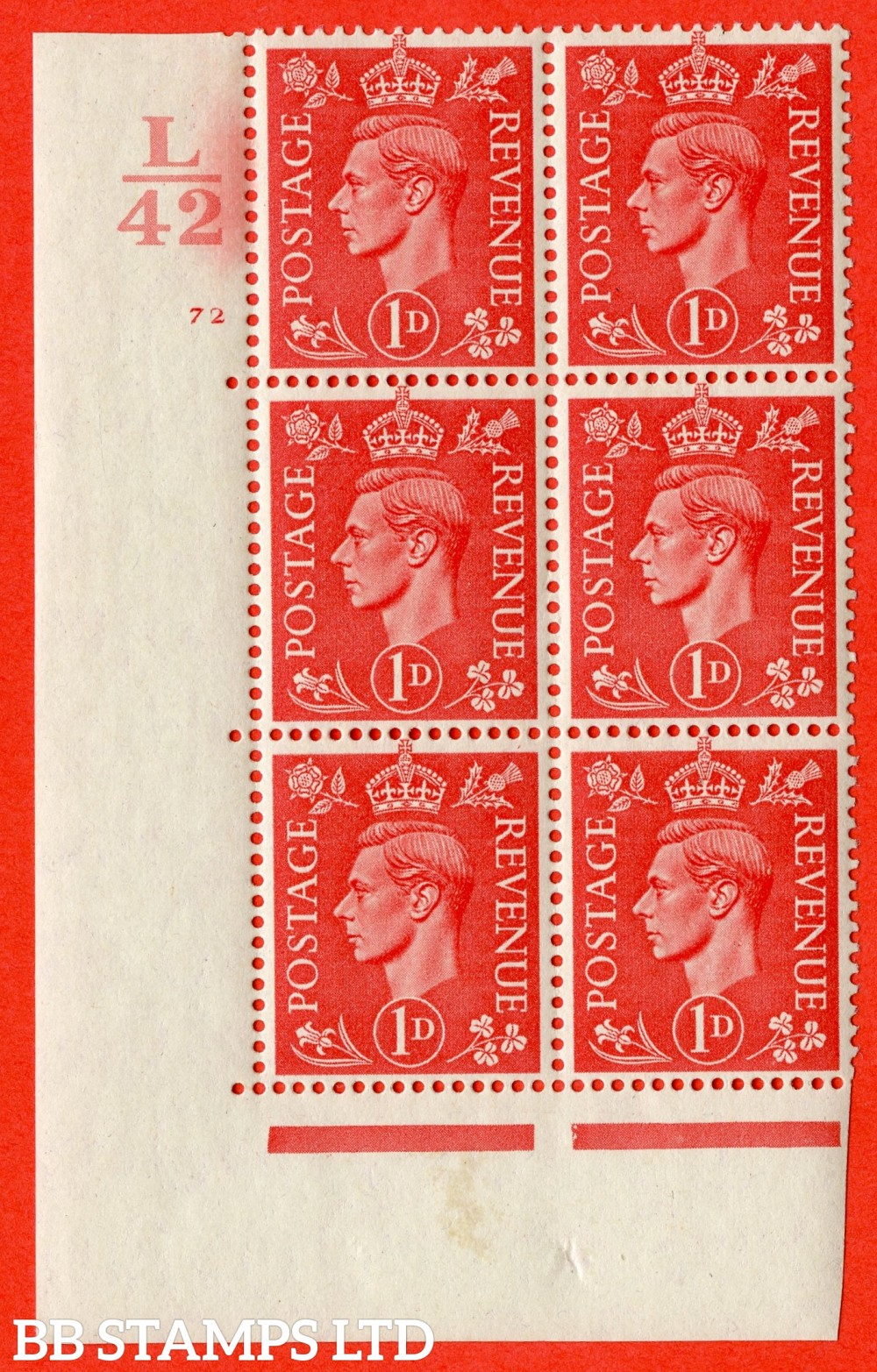"SG. 486. Q5. 1d Pale scarlet. A fine lightly mounted mint "" Control L42  cylinder 72 no dot "" control block of 6 with perf type 5 E/I."