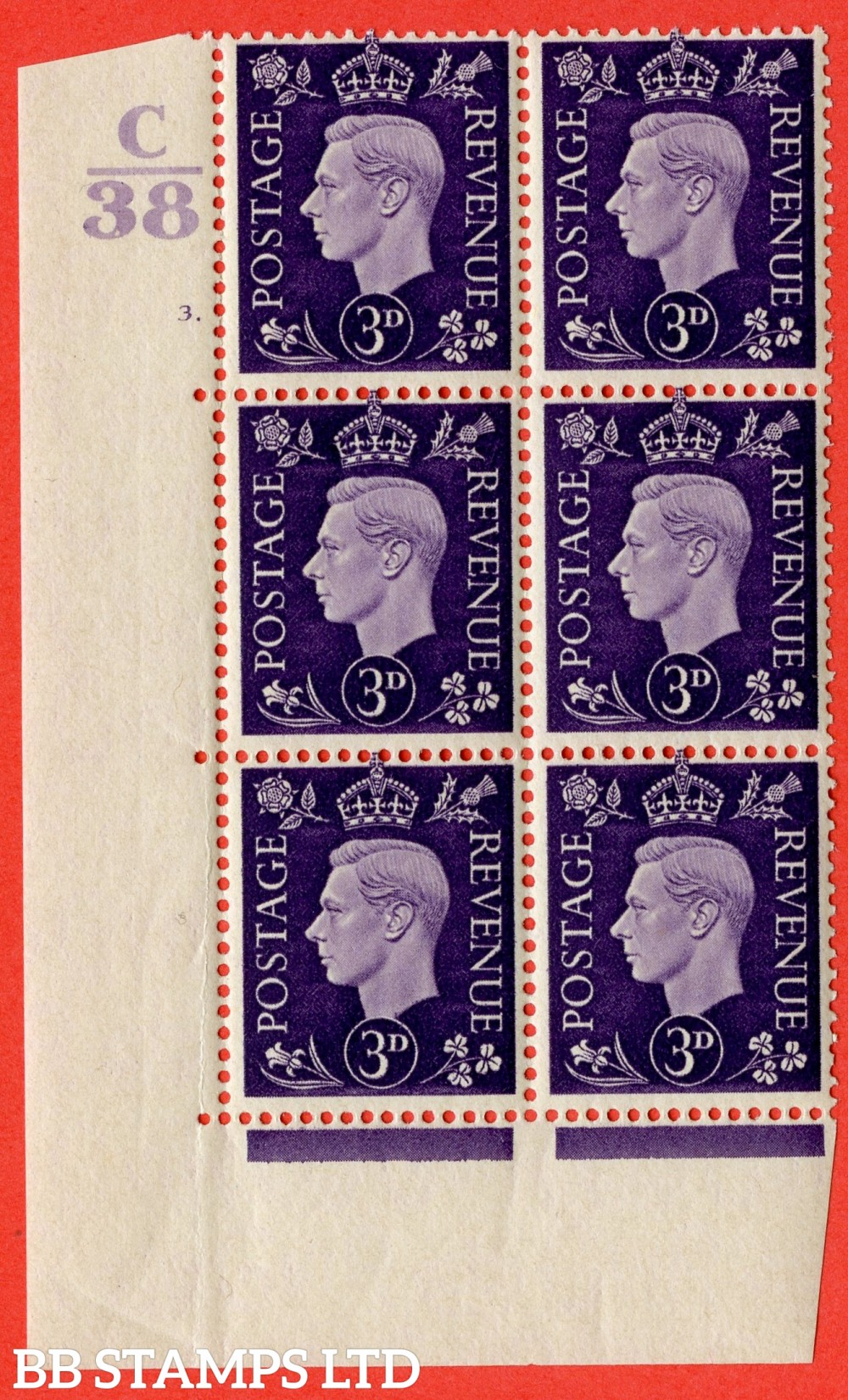 """SG. 467. Q16. 3d Violet. A superb UNMOUNTED MINT. """" Control C38 cylinder 3 dot """" control block of 6 with perf type 5 E/I."""
