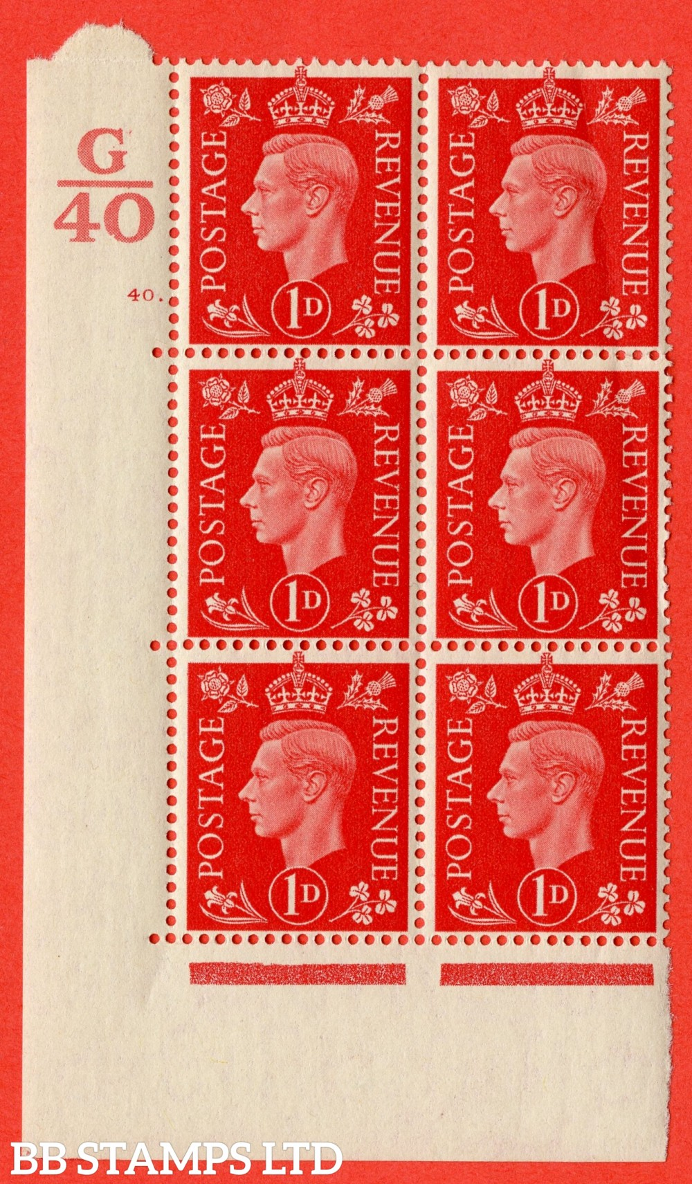 "SG. 463. Q4. 1d Scarlet. A superb UNMOUNTED MINT "" Control G40 cylinder 40 dot "" block of 6 with perf type 5 E/I with marginal rule. Slight crease."