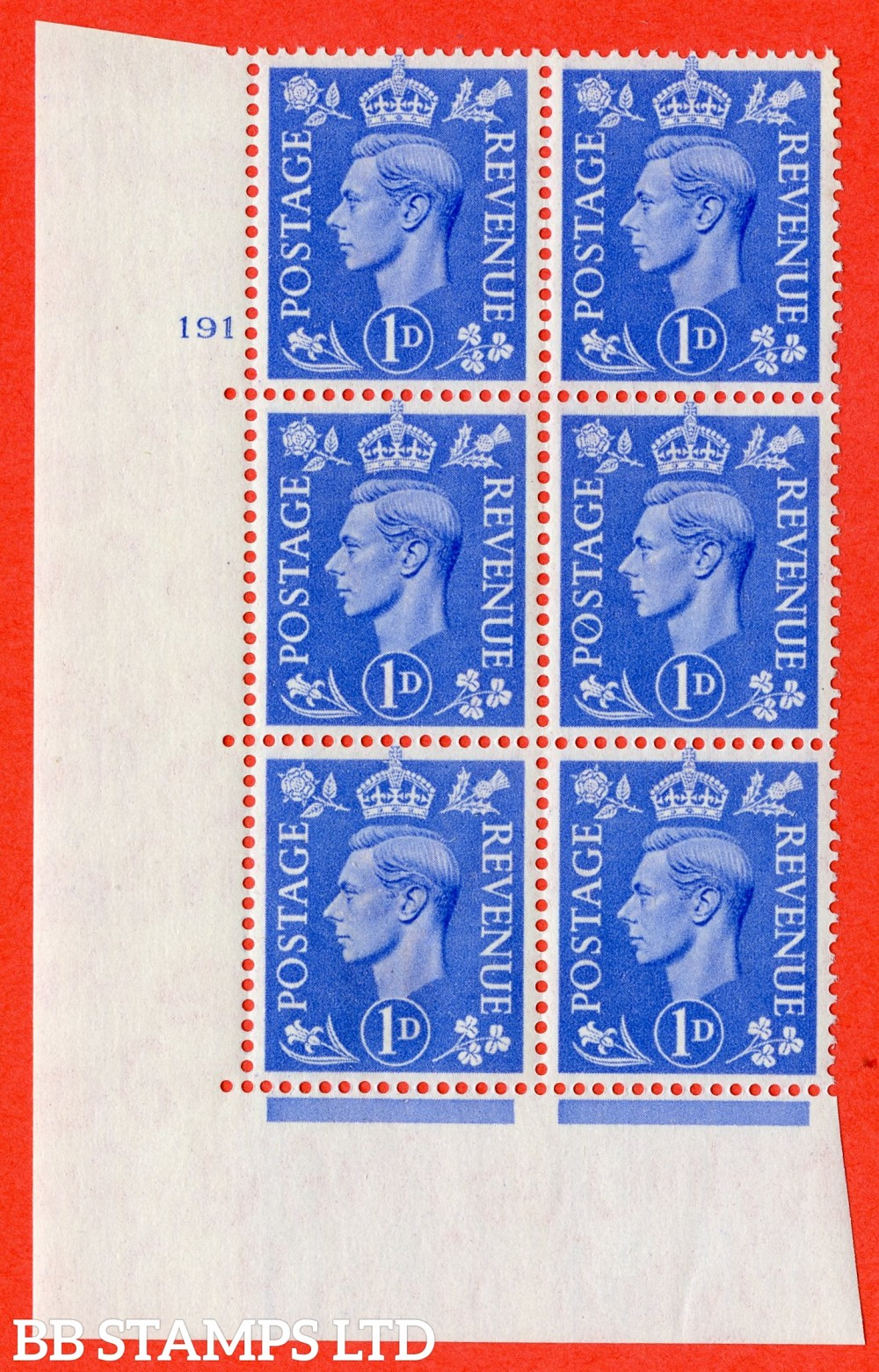 """SG. 504. Q6. 1d Light ultramarine. A superb UNMOUNTED MINT """" No Control cylinder 191 no dot """" control block of 6 with perf type 5 E/I"""