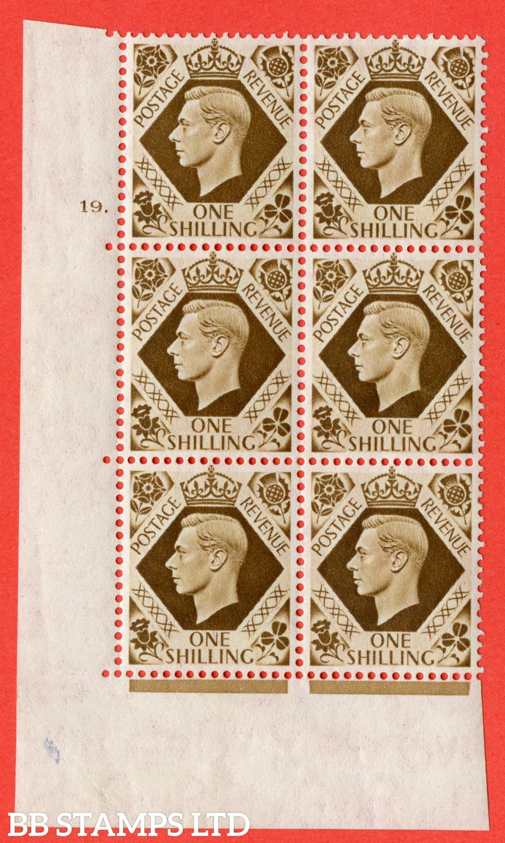 "SG. 475. Q28. 1/- Bistre-Brown. A fine lightly mounted mint "" No Control cylinder 19 no dot "" control block of 6 with perf type 5 E/I"