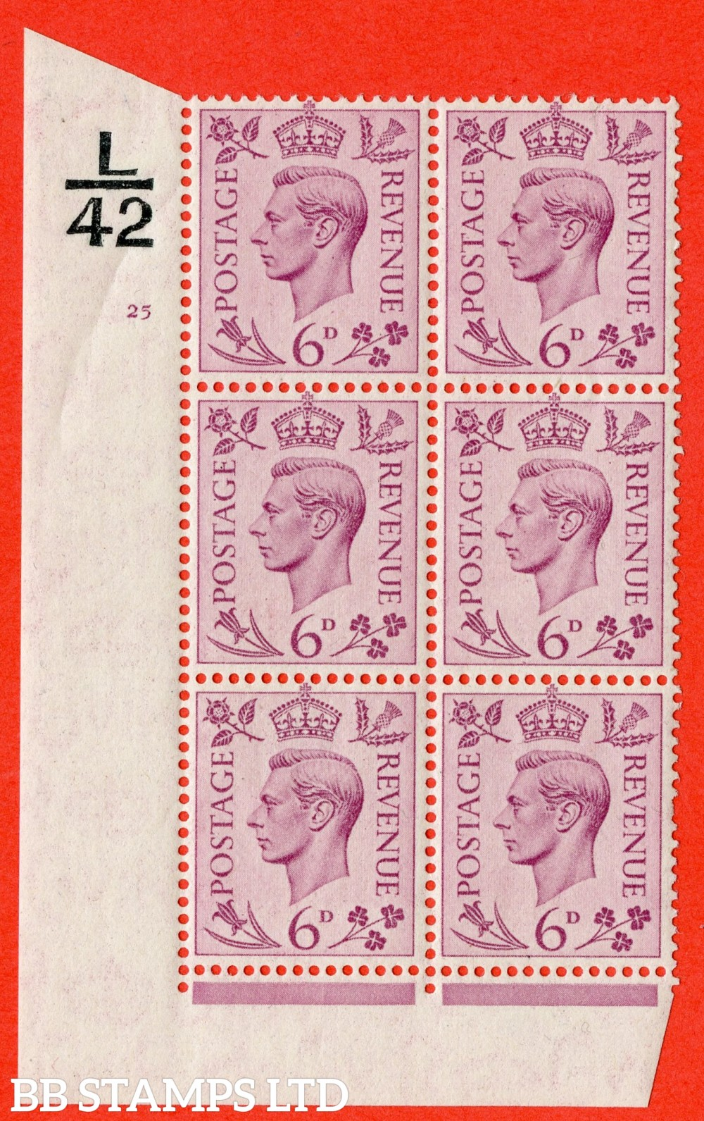"""SG. 470. Q22. 6d Purple. A fine lightly mounted mint """" Control L42 cylinder 25 no dot """" control block of 6 with perf type 2 E/I"""