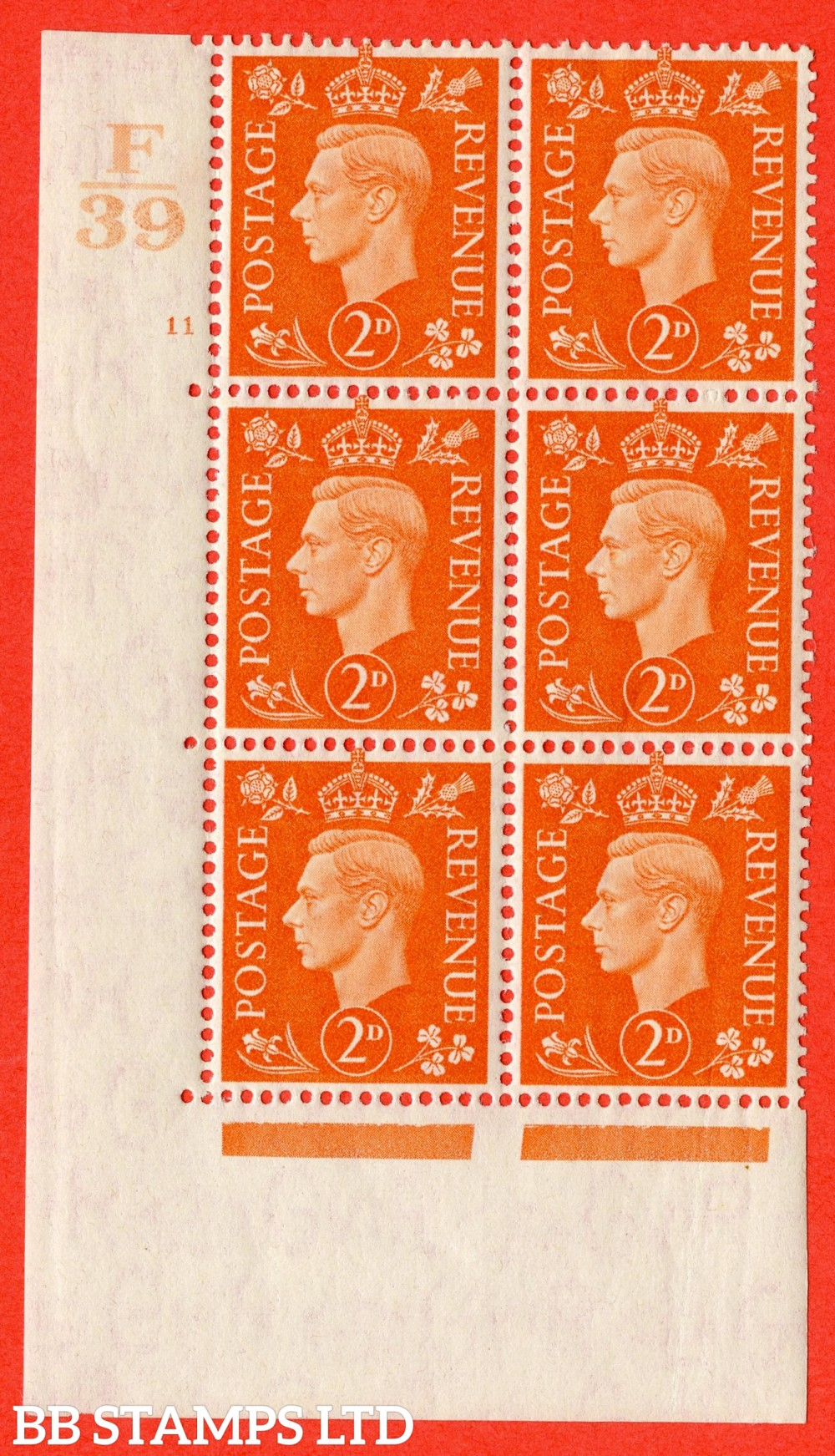 "SG. 465. Q10. 2d Orange. A fine lightly mounted mint "" Control F39 cylinder 11 no dot "" control block of 6 with perf type 5 E/I."
