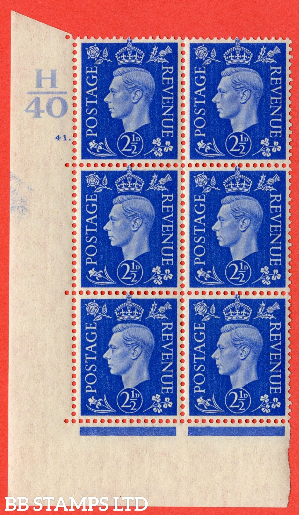 "SG. 466. Q13. 2½d Ultramarine. A superb UNMOUNTED MINT "" Control H40 cylinder 41 dot "" control block of 6 with perf type 5 E/I."