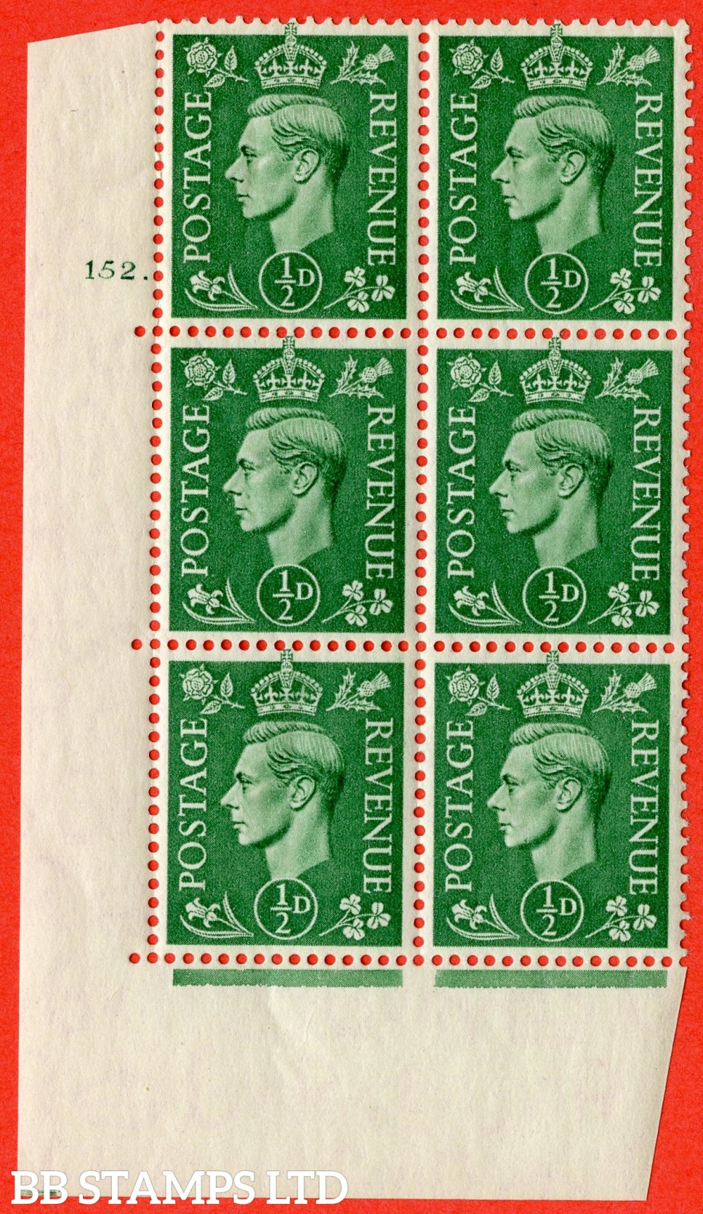 "SG. 485. Q2. ½d Pale Green. A fine lightly mounted mint "" No Control cylinder 152 dot "" block of 6 with perf type 5 E/I with marginal rule."
