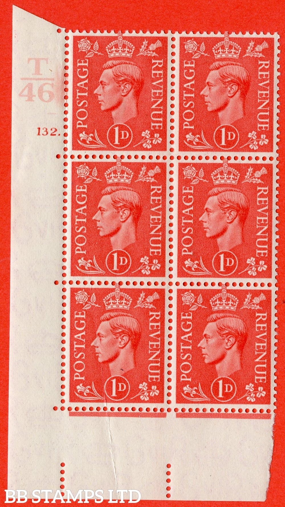 "SG. 486. Q5. 1d Pale scarlet. A superb UNMOUNTED MINT "" Control T46  cylinder 132 no dot "" control block of 6 with perf type 5 E/I."