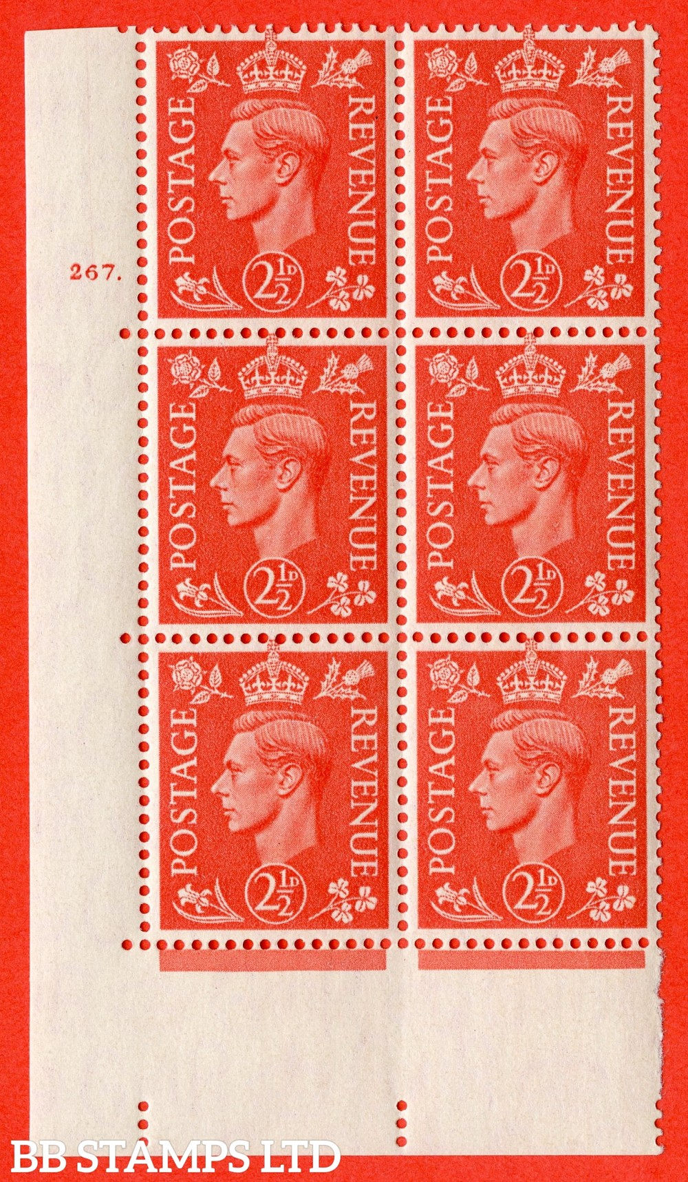 "SG. 507. Q15. 2½d Pale Scarlet. A fine lightly mounted mint "" No Control cylinder 267 dot "" control block of 6 with perf type 5 E/I."