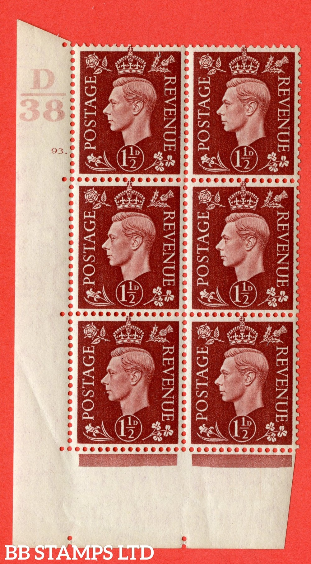 """SG. 464. Q7. 1½d Red-Brown. A superb UNMOUNTED MINT """" Control D38 cylinder 93 dot """" block of 6 with perf type 5 E/I."""