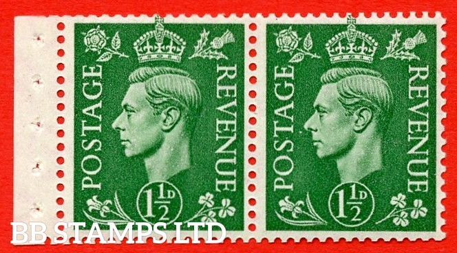 """SG. 505d. QB28. 1½d Pale Green. UNMOUNTED MINT Booklet Pane of 2. with perf type """" E """". Good Perfs."""