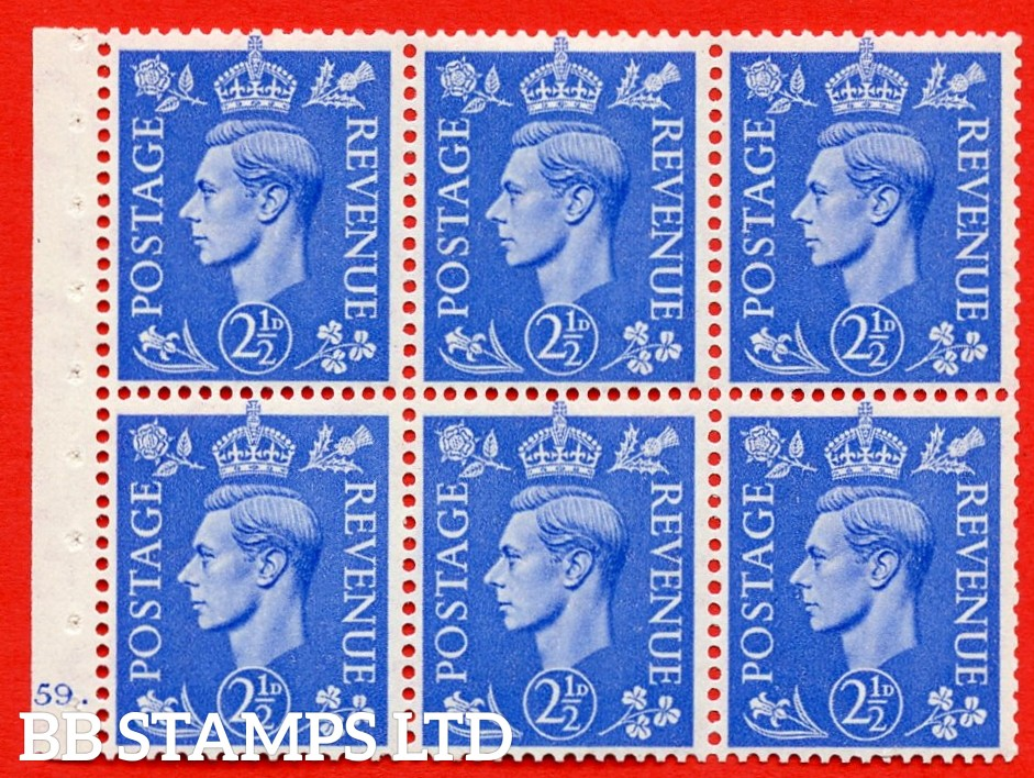 """SG. 489f. QB33. 2½d blue. A fine MOUNTED MINT complete Cylinder pane of 6 J59 dot. Perf type """"B6(IE)"""". Good Perfs."""