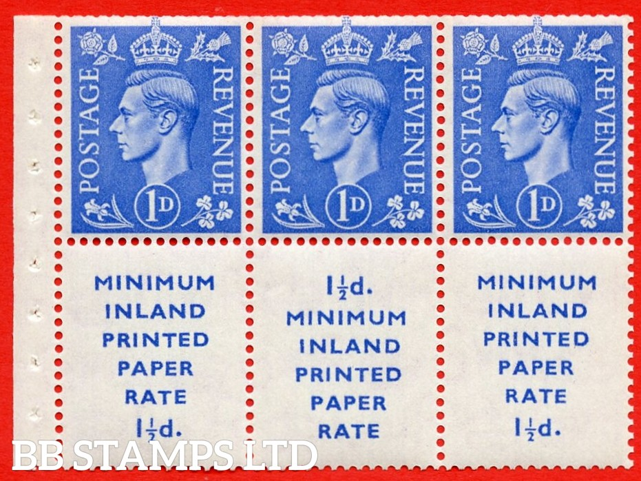 """SG. 504d. QB18. 1d ultramarine. A fine UNMOUNTED MINT example with """" MINIMUM INLAND PRINTED PAPER RATE """" 17 mm high. Perf type """" Ieb """". Trimmed Perf."""