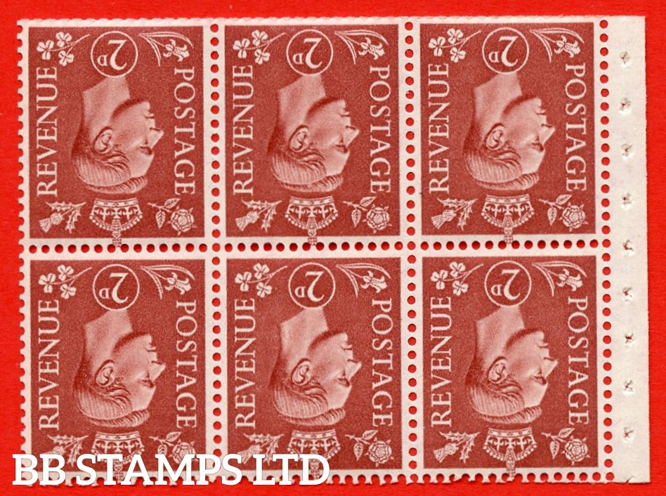 """SG. 506dw. QB31a. 2d pale red brown. A superb UNMOUNTED MINT. INVERTED WATERMARK complete booklet pane. Perf type """" I """". Trimmed Perfs."""