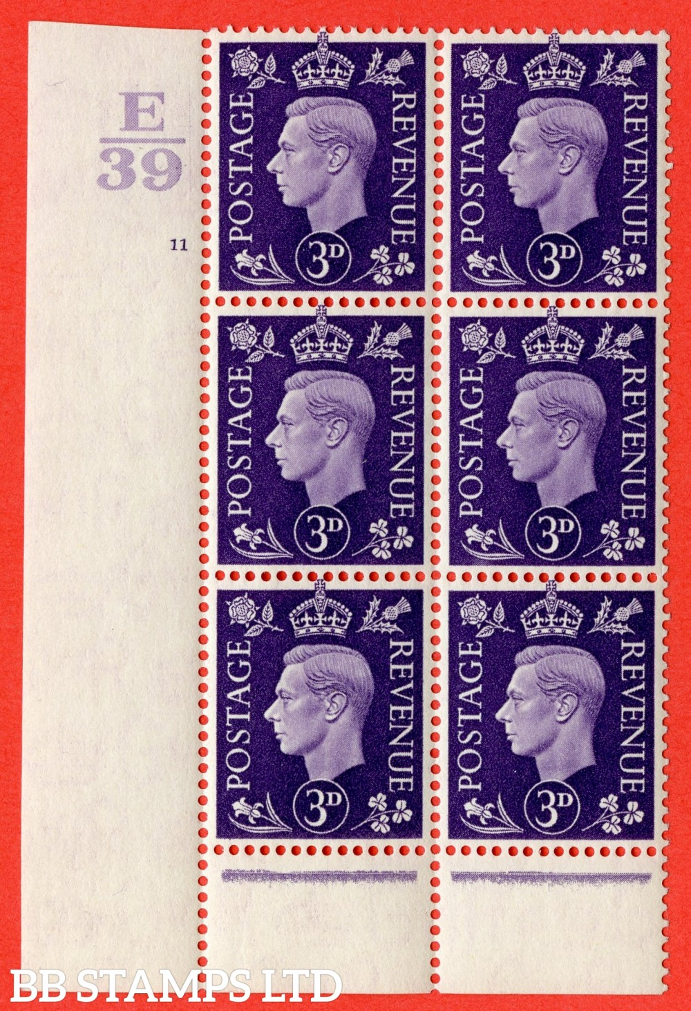 """SG. 467. Q16 b. 3d Violet. A fine lightly mounted mint """" Control E39 cylinder 11 no dot """" control block of 6 with perf type 6 I/P with listed variety """" dark spot below eye """" Row 19/1."""