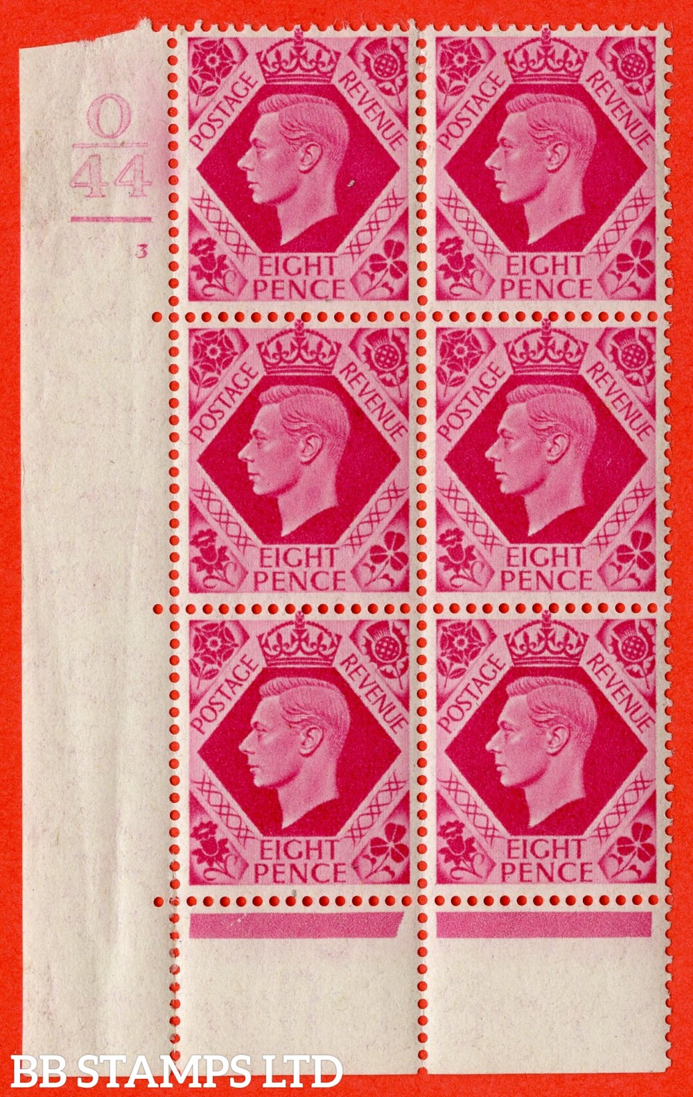 "SG. 472. Q24. 8d Bright Carmine. A fine lightly mounted mint "" Control O44. 1 Bars Cylinder 3 no dot "" control block of 6 with perf type 6B E/P"