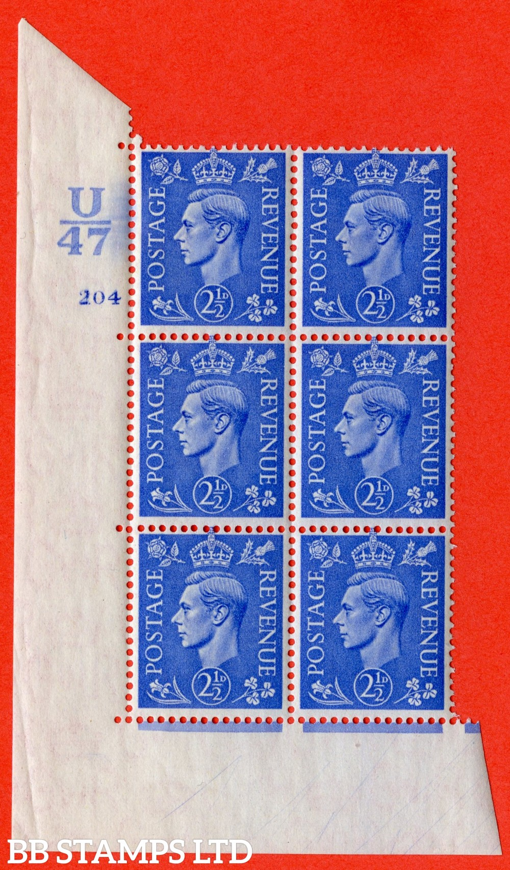 "SG. 489. Q14. 2½d Light ultramarine. A superb UNMOUNTED MINT "" Control U47 cylinder 204 no dot "" control block of 6 with perf type 5 E/I."