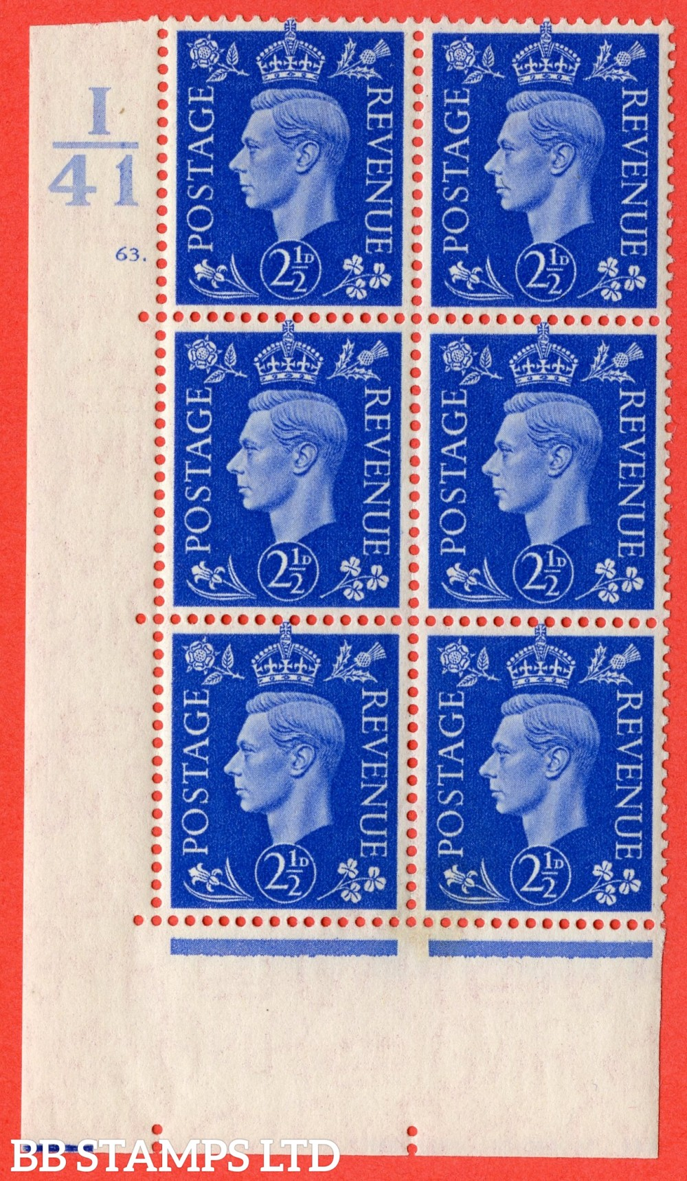 """SG. 466. d. Q13. 2½d Ultramarine.  A fine lightly mounted mint """" Control I41 cylinder 63 no dot """" control block of 6 with perf type 5 E/I."""