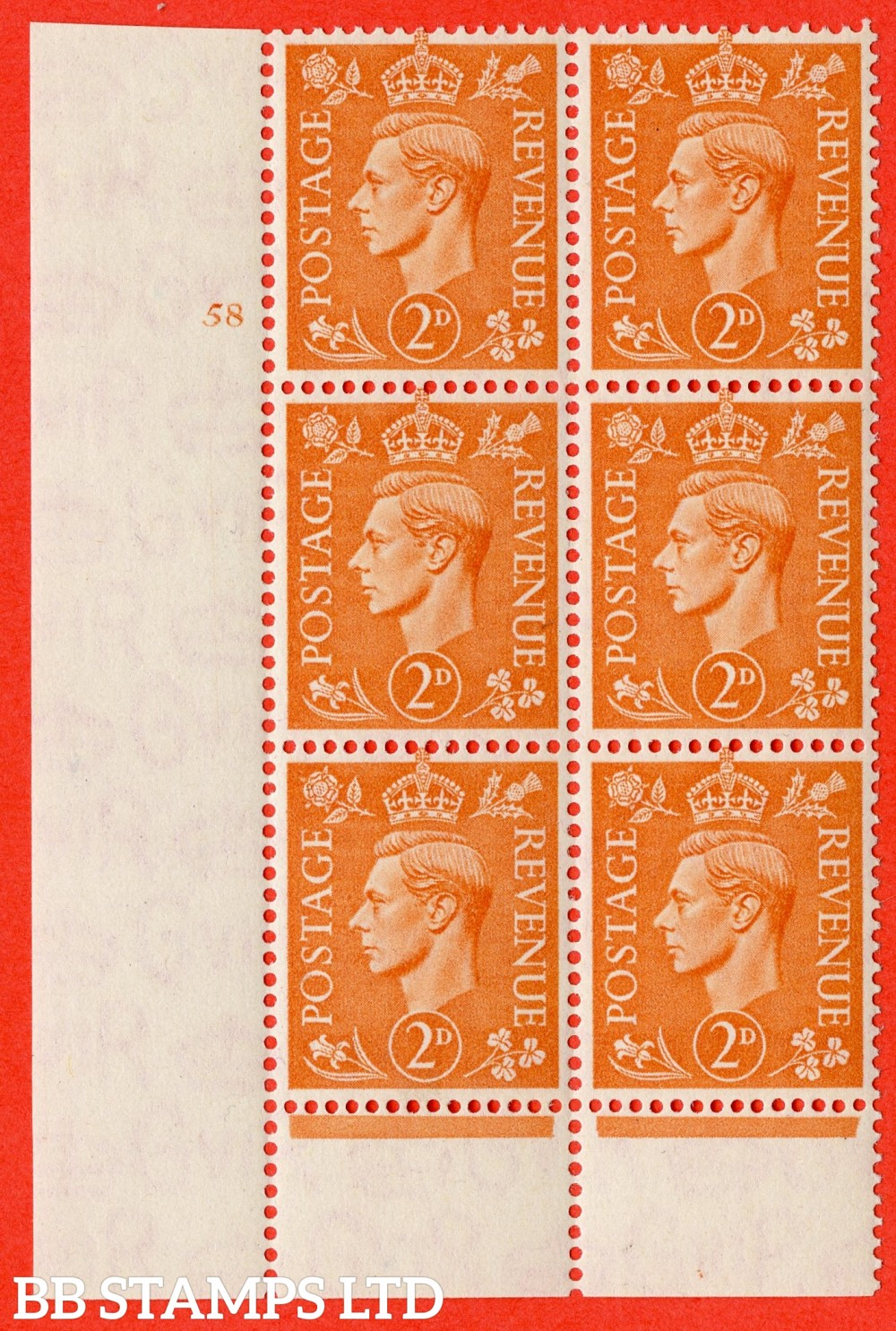 "SG. 488. Q11. 2d Pale Orange. A superb UNMOUNTED MINT "" No Control cylinder 58 no dot "" control block of 6 with perf type 6 I/P"