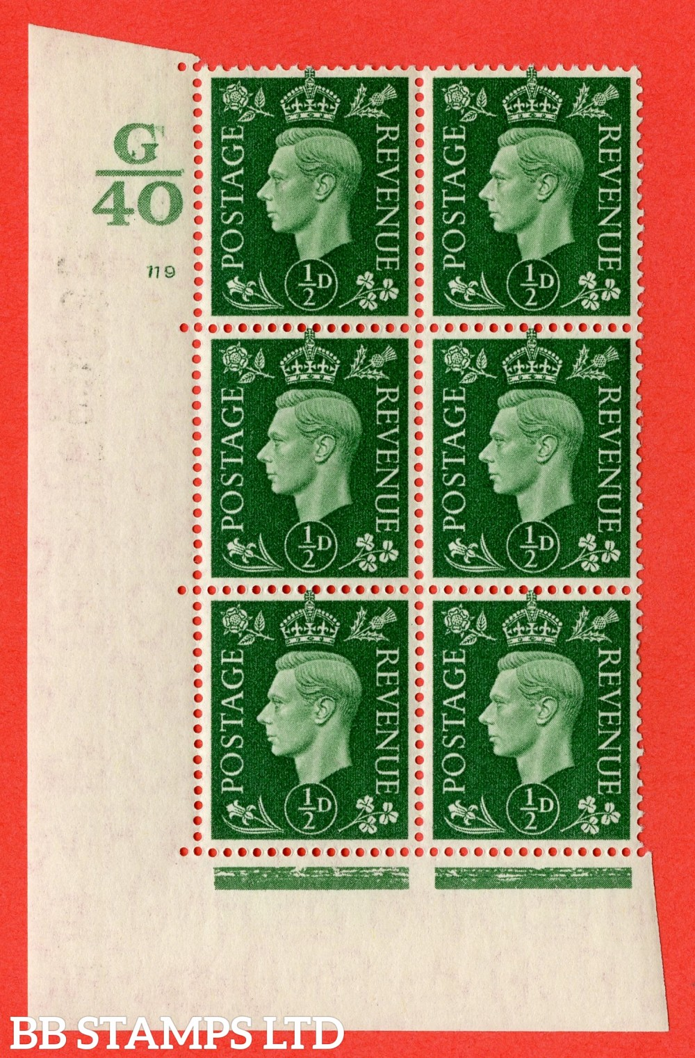 "SG. 462. Q1. ½d Green. A superb UNMOUNTED MINT "" Control G40 cylinder 119 no dot "" block of 6 with perf type 5 E/I with marginal rule."