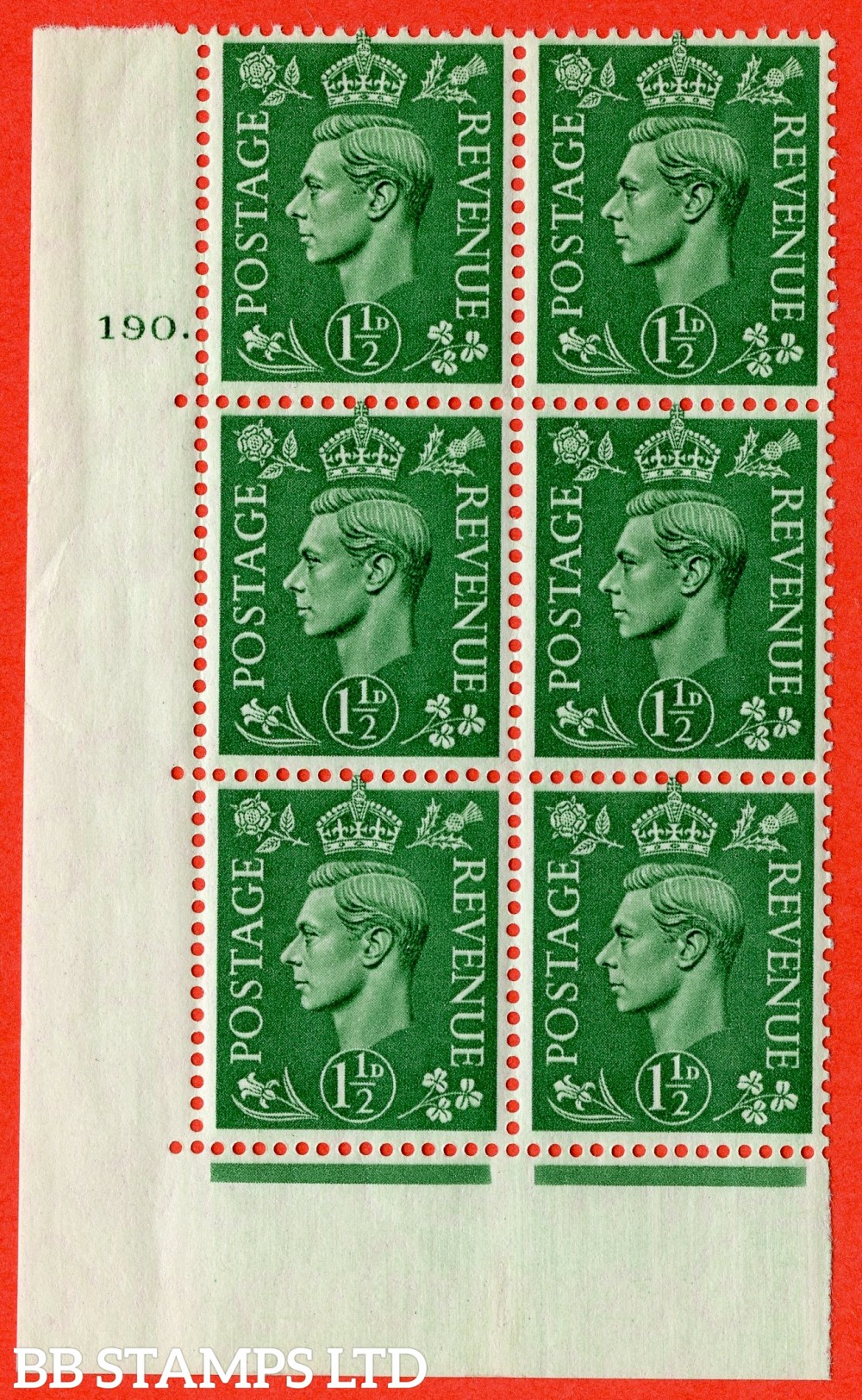 """SG. 505. Q9. 1½d Pale Green. A superb UNMOUNTED MINT """" No Control cylinder 190 dot """" control block of 6 with perf type 5 E/I"""