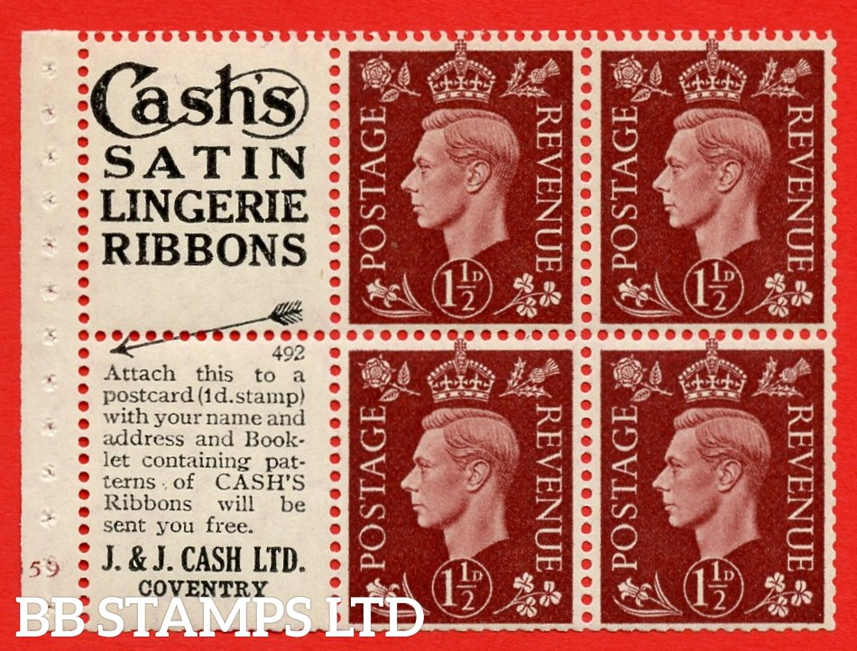 """QB23 Perf Type B3(I) (5) No. 492 1½d Red-Brown x 6 Pane, MOUNTED MINT.Cylinder Pane G59 no dot ( SG. 464b ) Perf type B3(I). """"Cash's satin lingerie ribbons / Booklet Containing patterns"""" . Trimmed Perfs"""