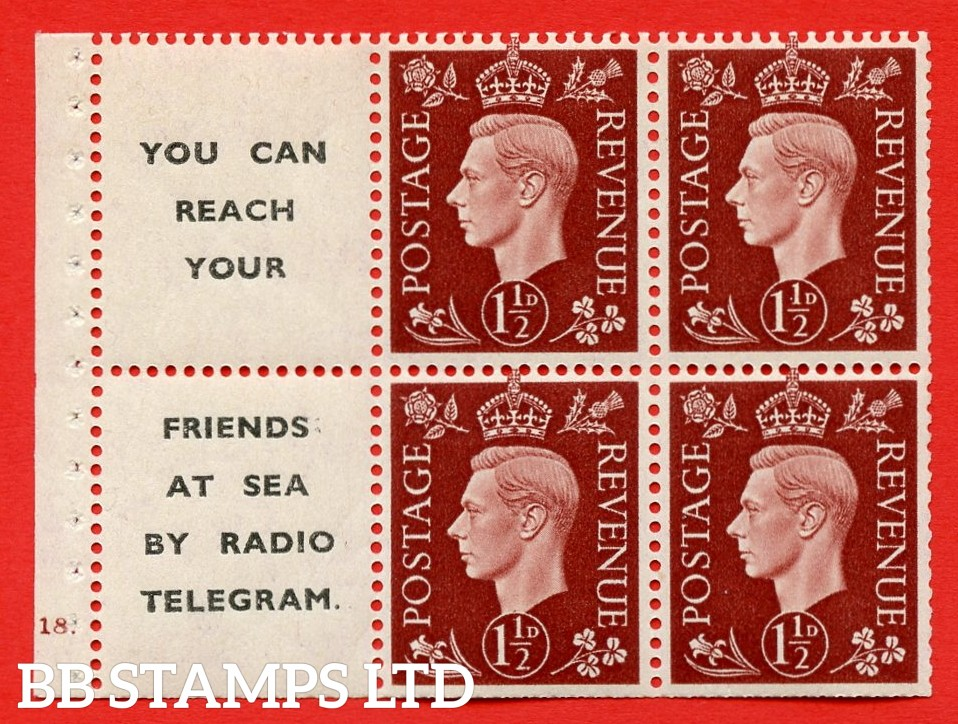 """QB23 Perf Type B4A(I) (12) 1½d Red-Brown x 6 Pane, UNMOUNTED MINT. Cylinder Pane G18 no dot  ( SG. 464b ) Perf type B4A(I). """" You can reach your / friends at sea by Radio Telegram  """". Trimmed Perfs."""